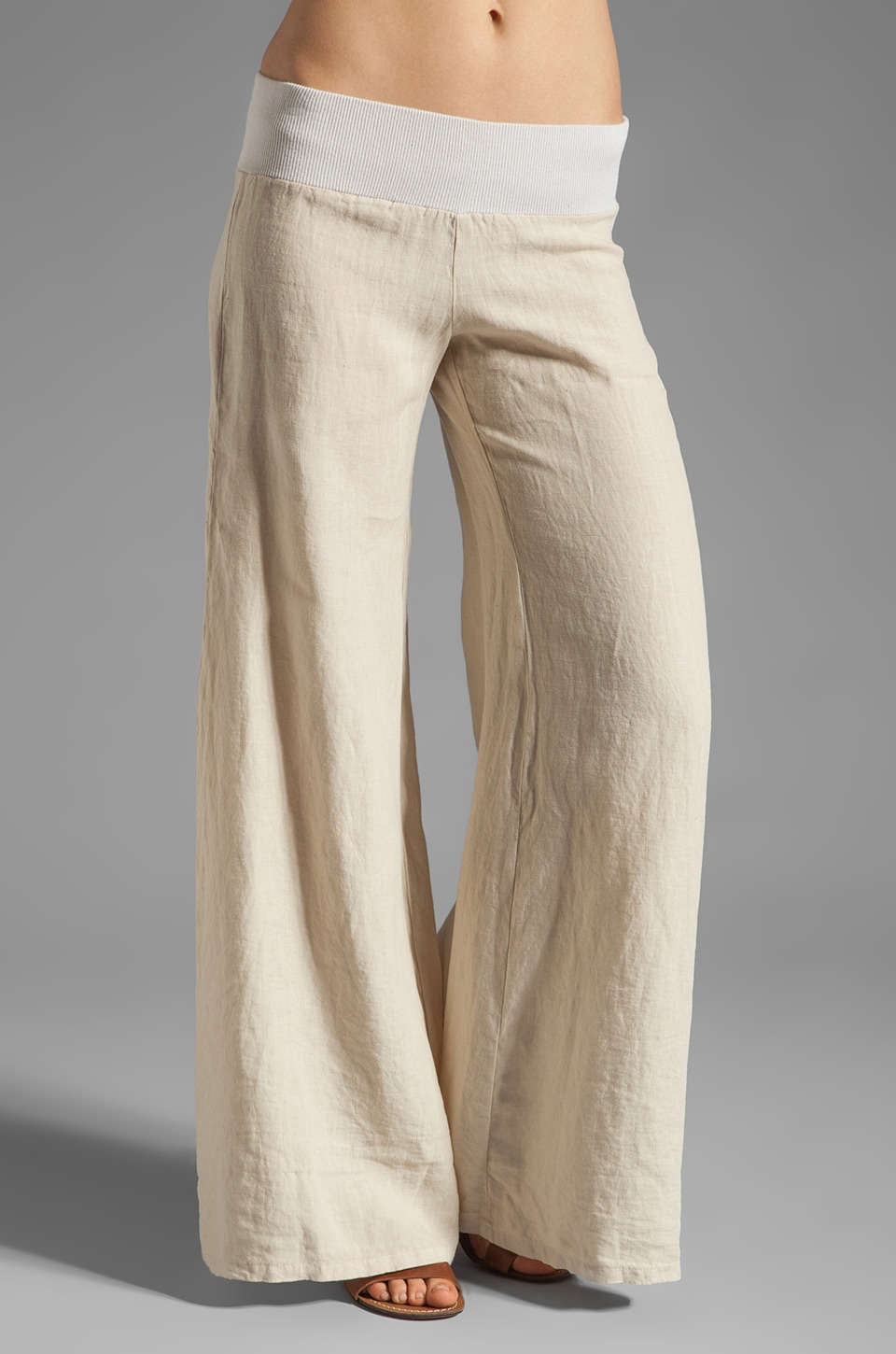 Enza Costa Linen Wide Leg Pant in Natural