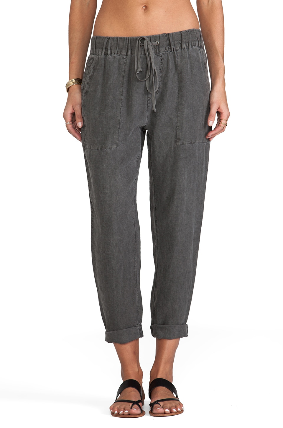 Enza Costa Linen Pant in Carbon