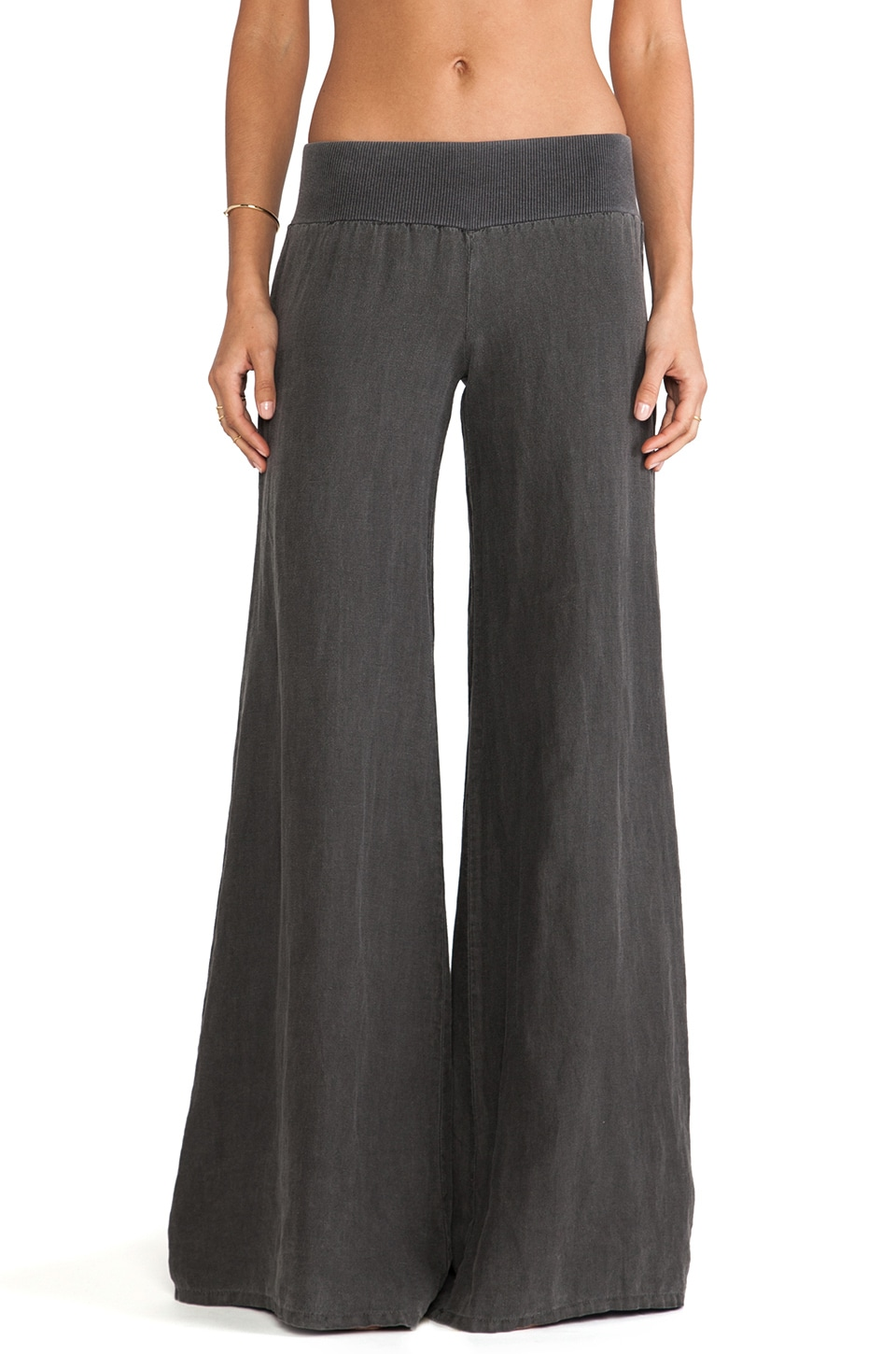 Enza Costa French Linen Linen Wide Leg in carbon