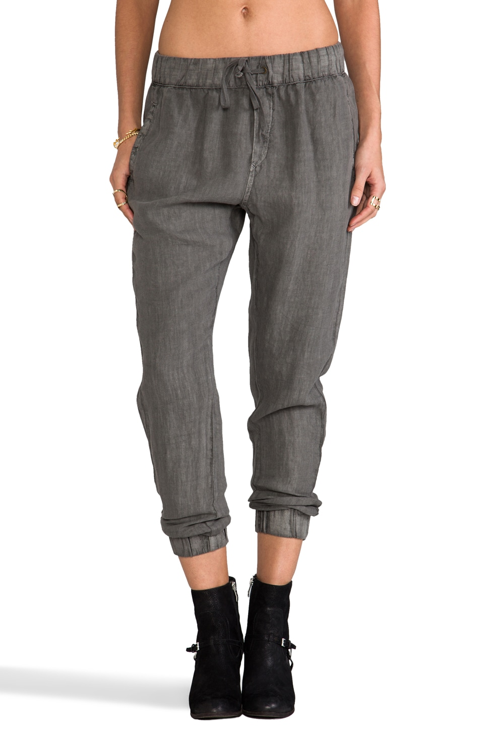 Enza Costa French Linen Lounge Pant in Carbon