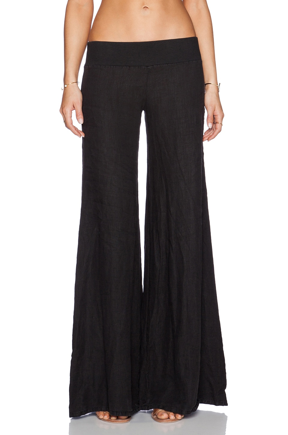 Enza Costa Linen Wide Leg in Faded Black