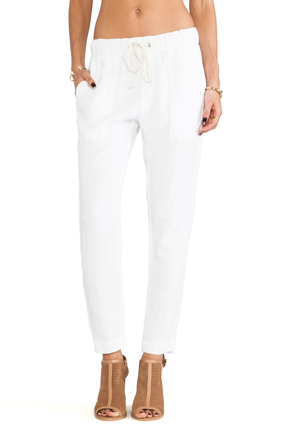 Enza Costa Linen Pant in White
