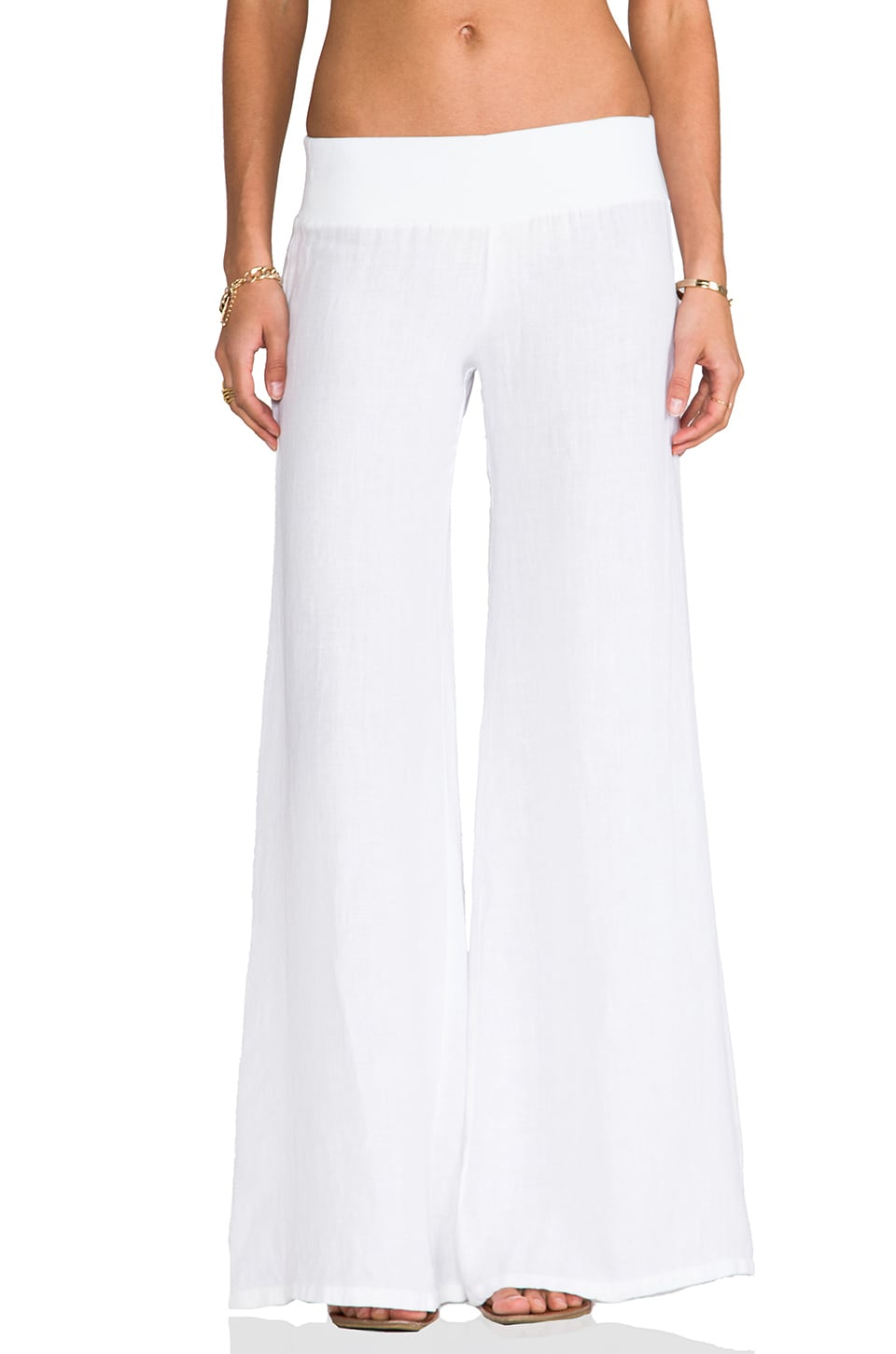 Enza Costa Linen Wide Leg Pant in White | REVOLVE