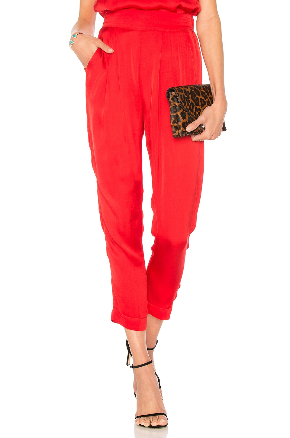 Enza Costa Pleated Easy Pant in Iconic Red