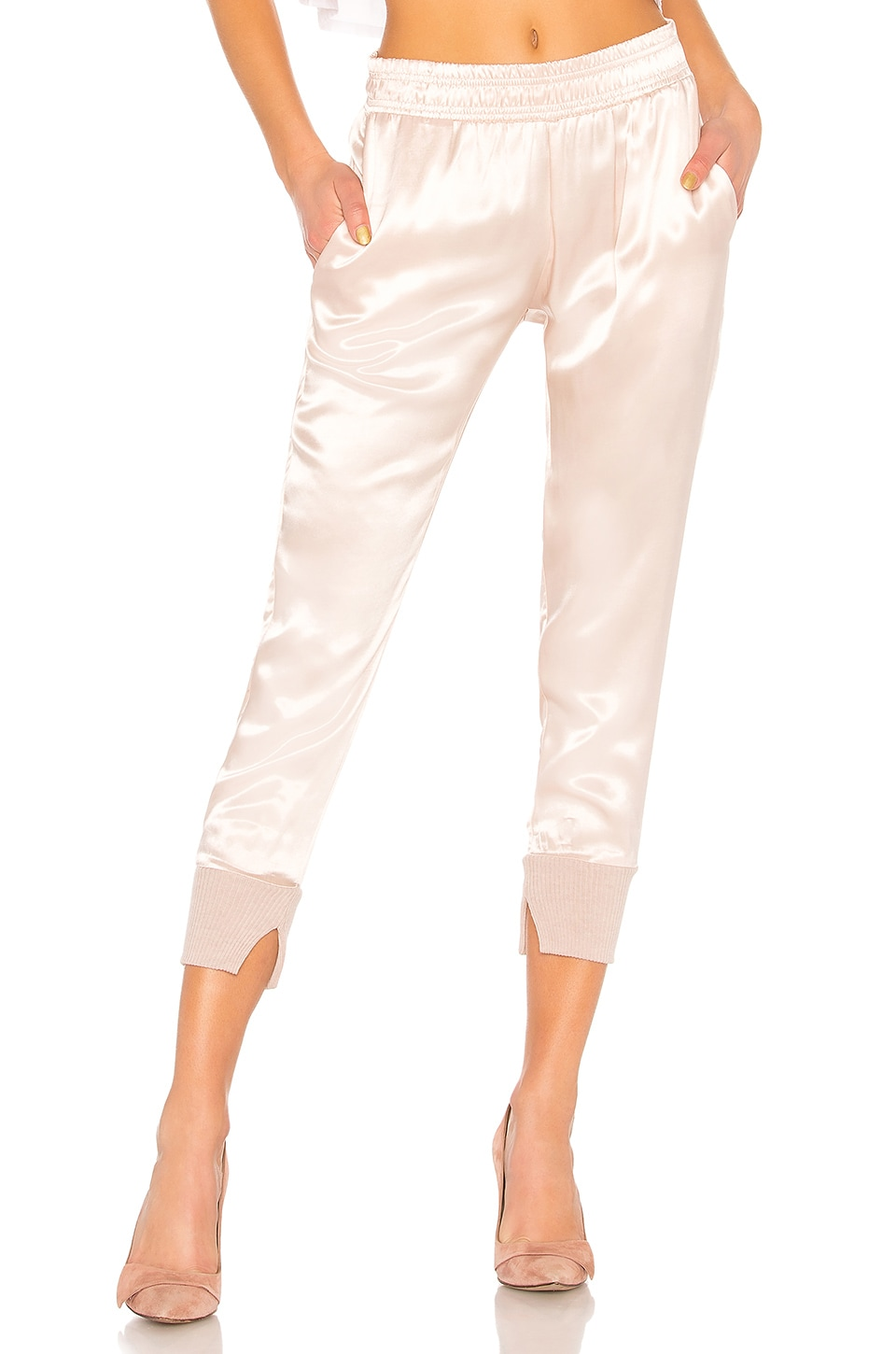 Enza Costa Cuffed Jogger Pant in Pink Beige