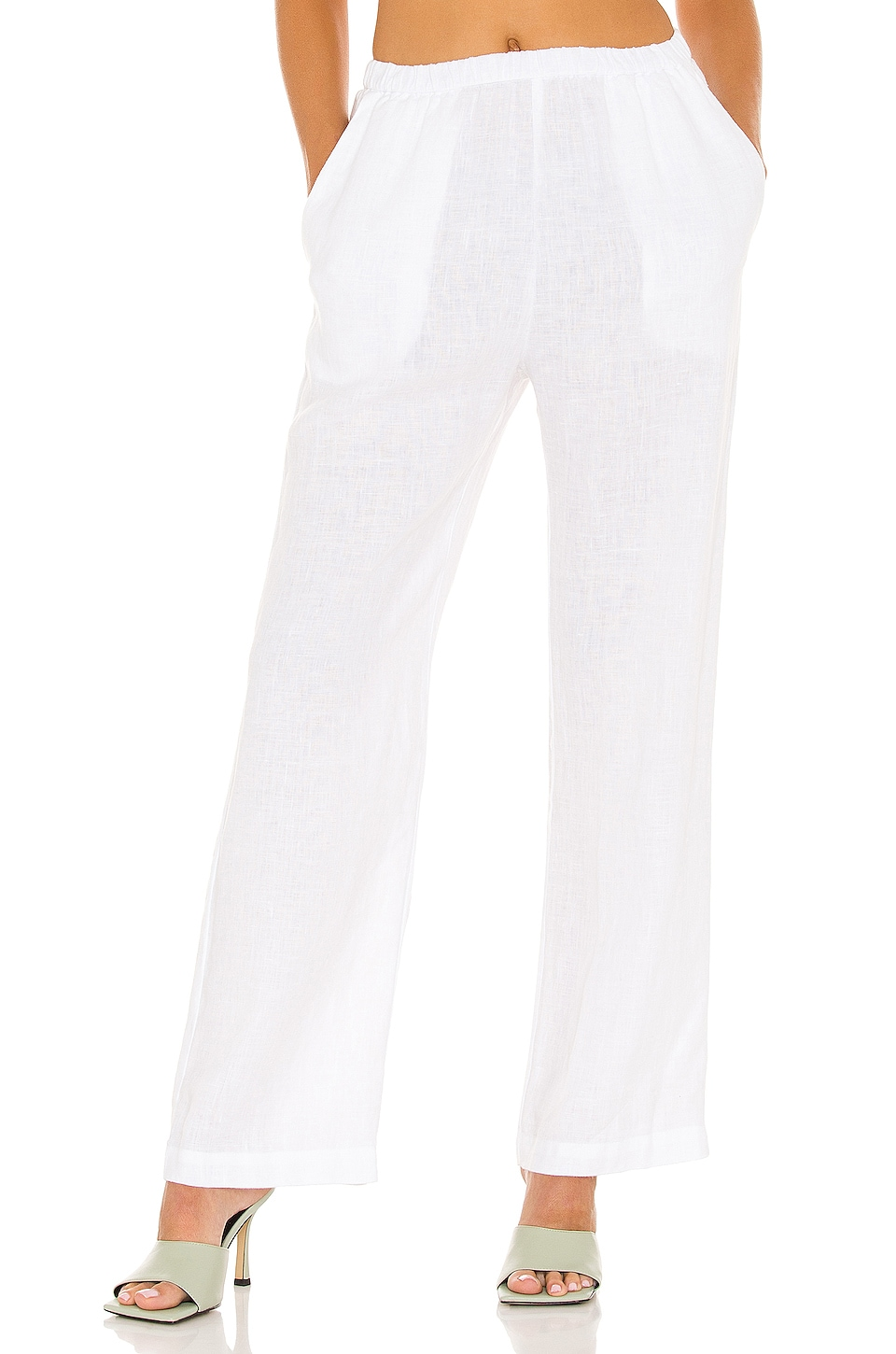 Enza Costa X REVOLVE Linen High Waisted Lounge Pant in White