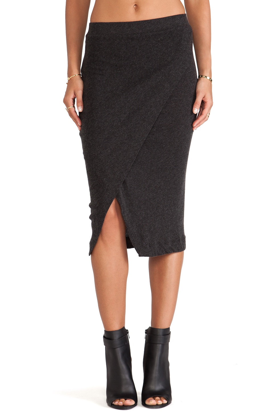 Enza Costa Cashmere Midi Skirt in Charcoal