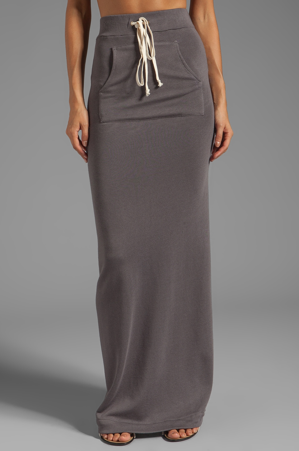 Enza Costa Cashmere French Terry Slit Maxi Skirt in Eiffel Tower