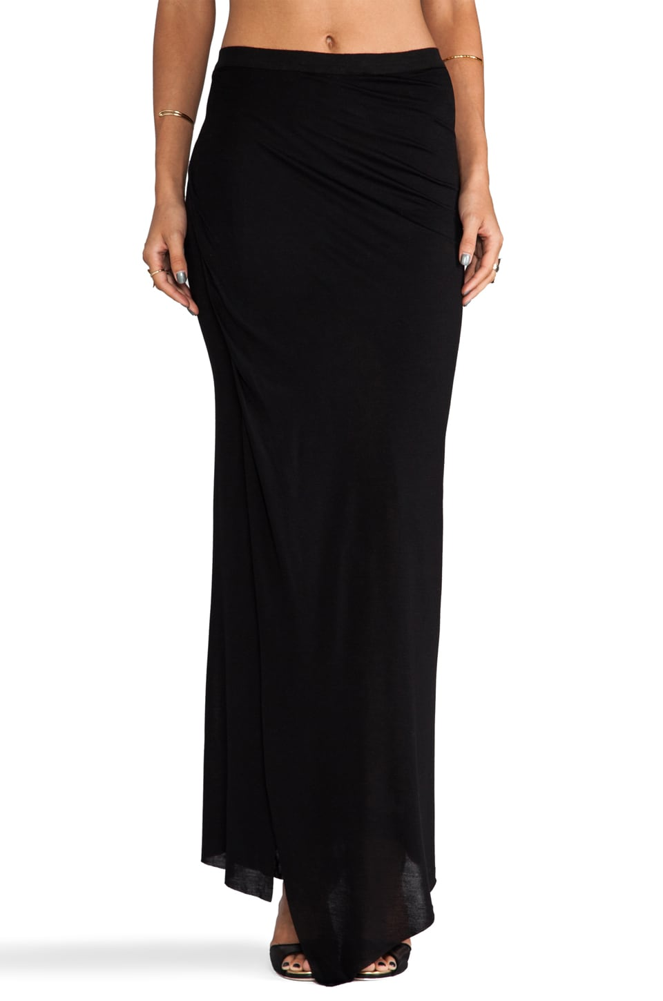 Enza Costa Rayon Jersey Wrap Column Skirt in Black