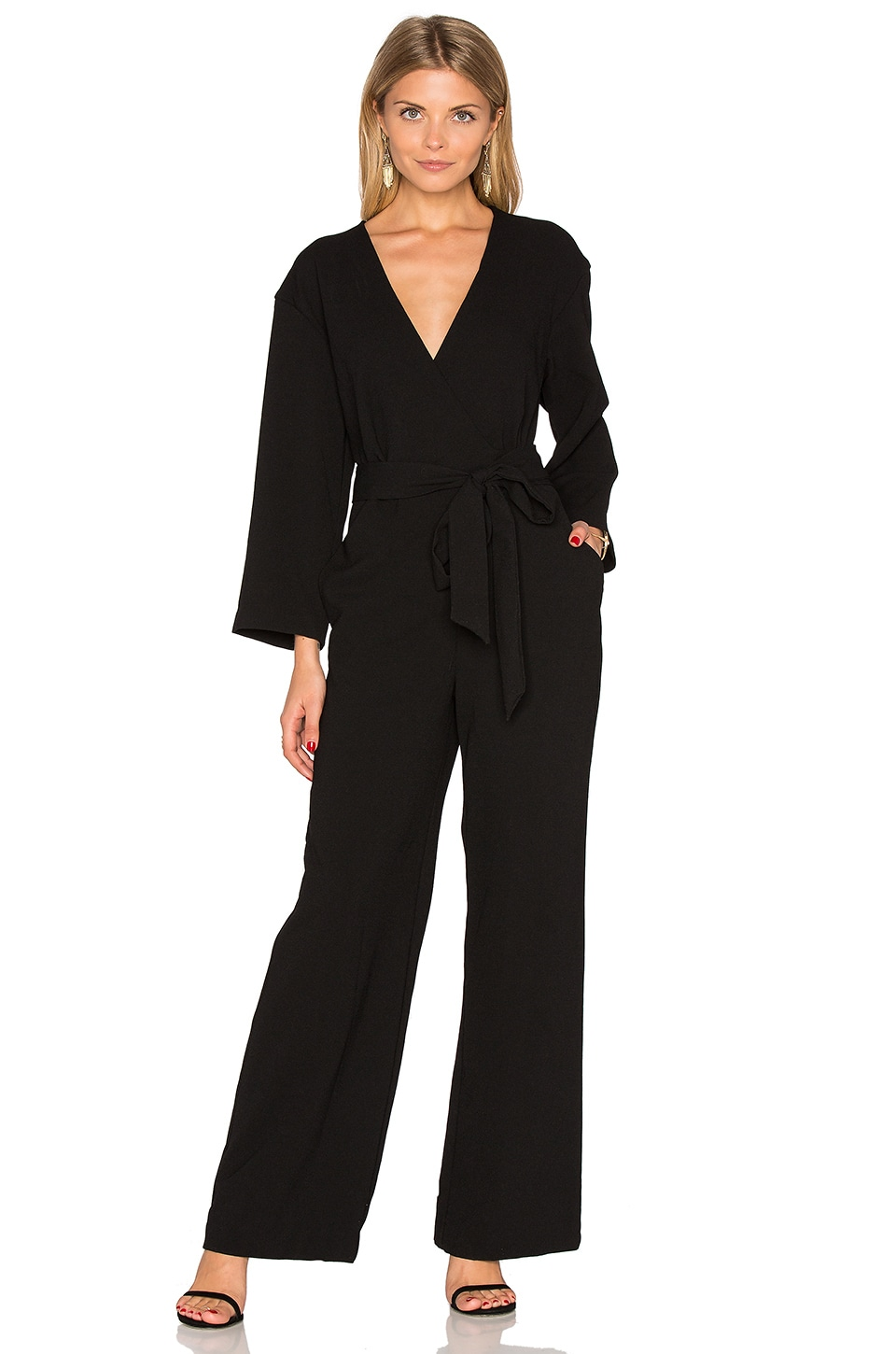 Enza Costa Long Sleeve Wrap Jumpsuit in Black