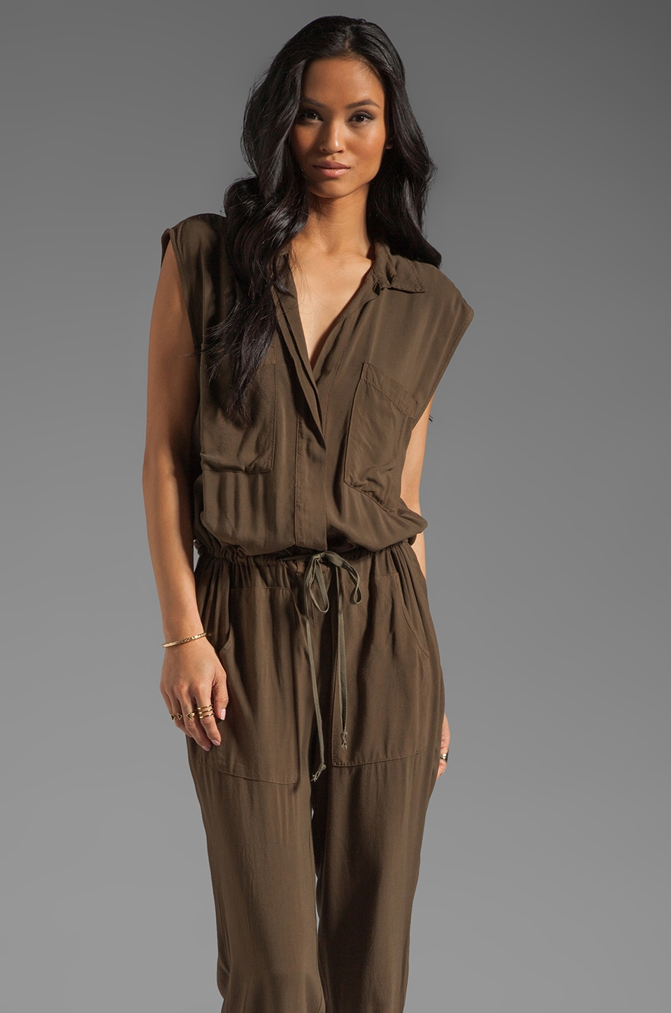 Enza Costa Challis Jumpsuit in Olive Drab