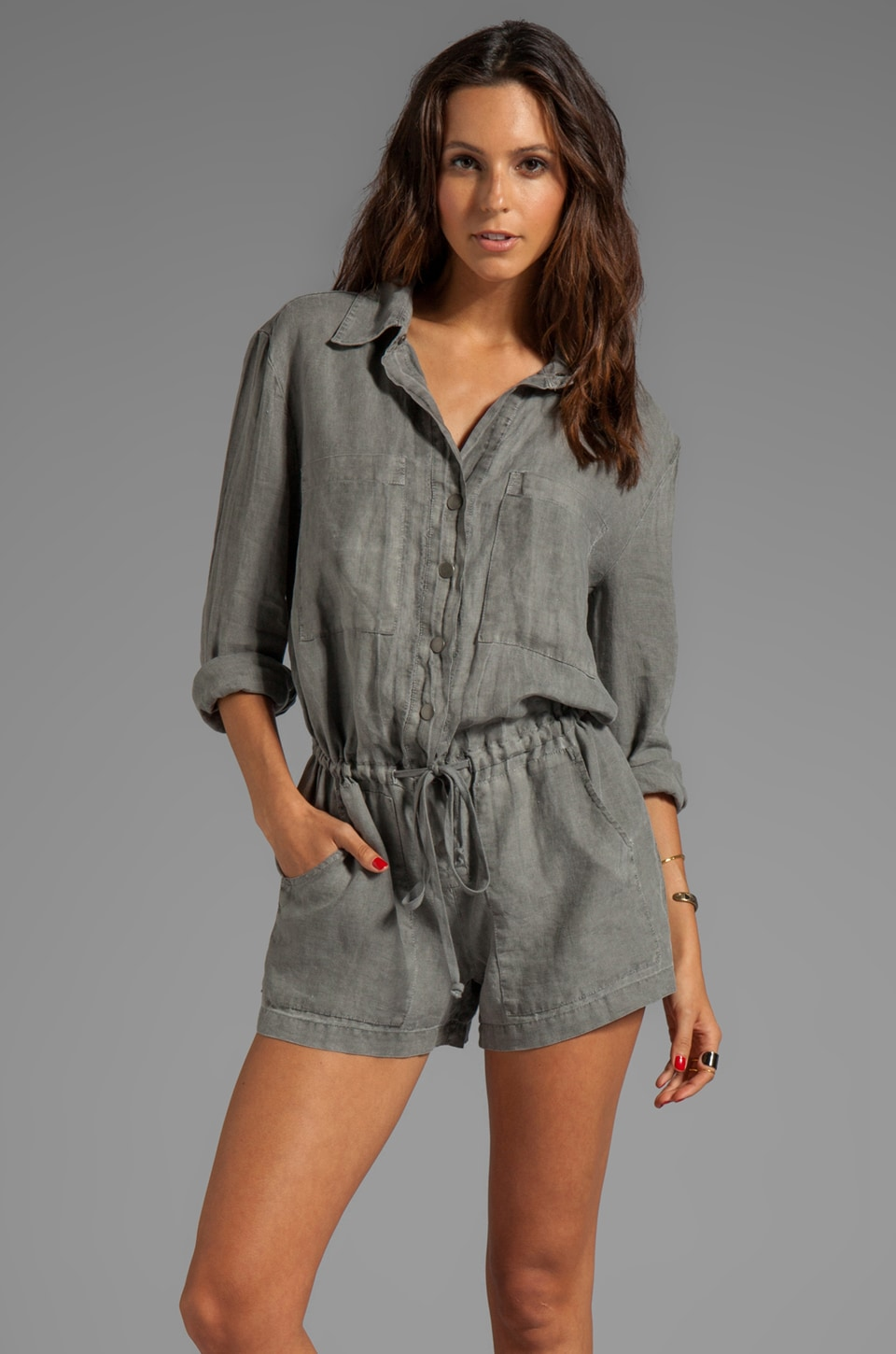Enza Costa Long Sleeve Linen Romper in Carbon