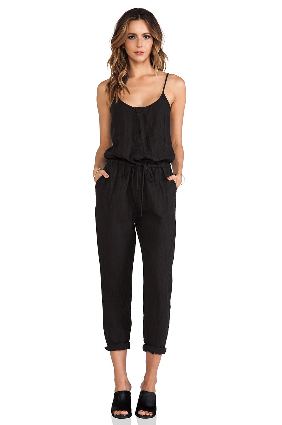 Enza Costa Linen Strappy Jumpsuit in Faded Black