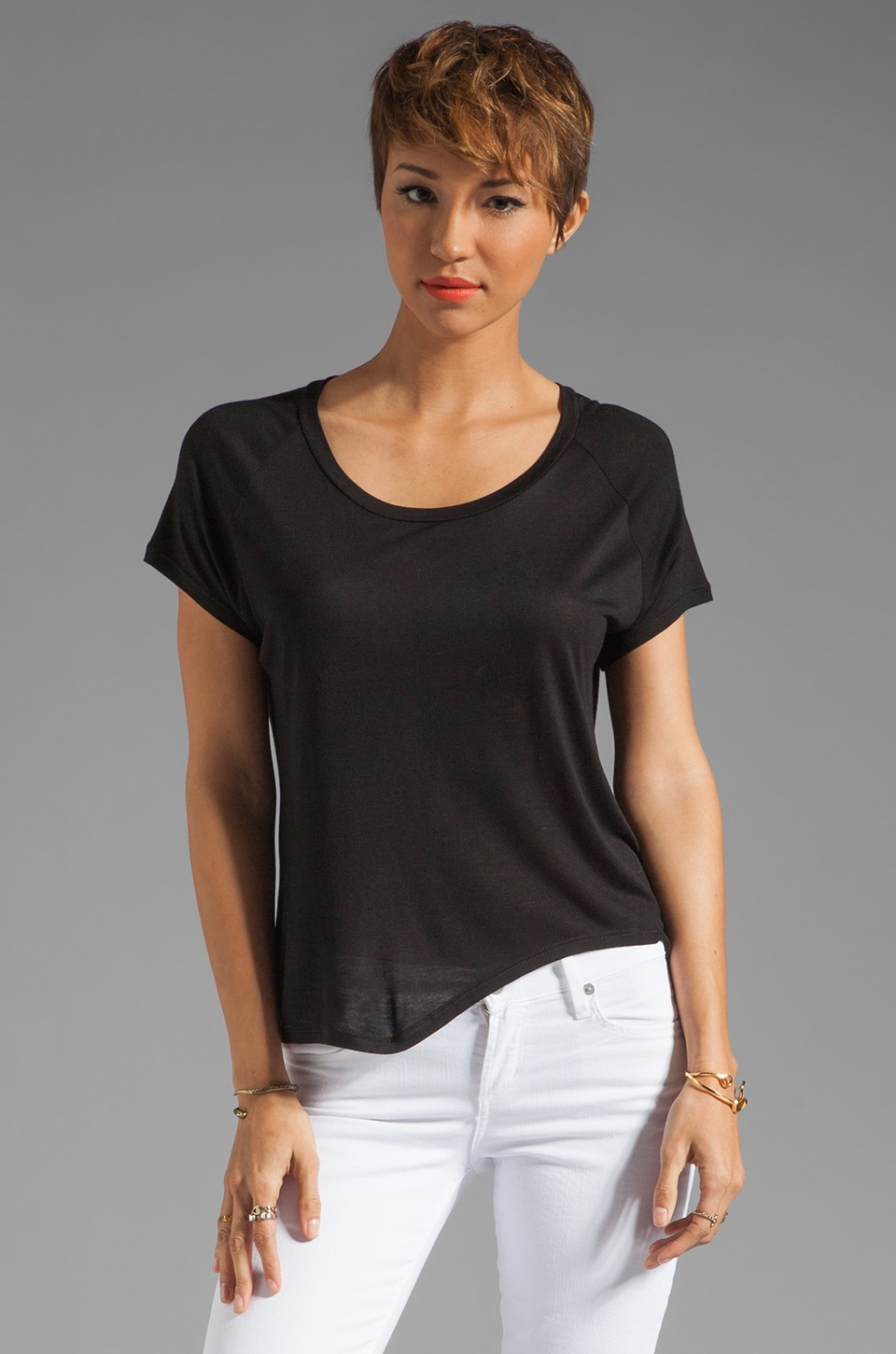 Enza Costa Rayon Rib Side Flare Short Sleeve in Black