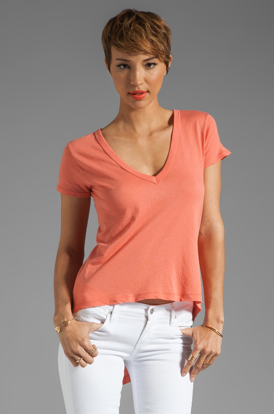 Enza Costa Tissue Jersey Hi Lo Short Sleeve in Coral