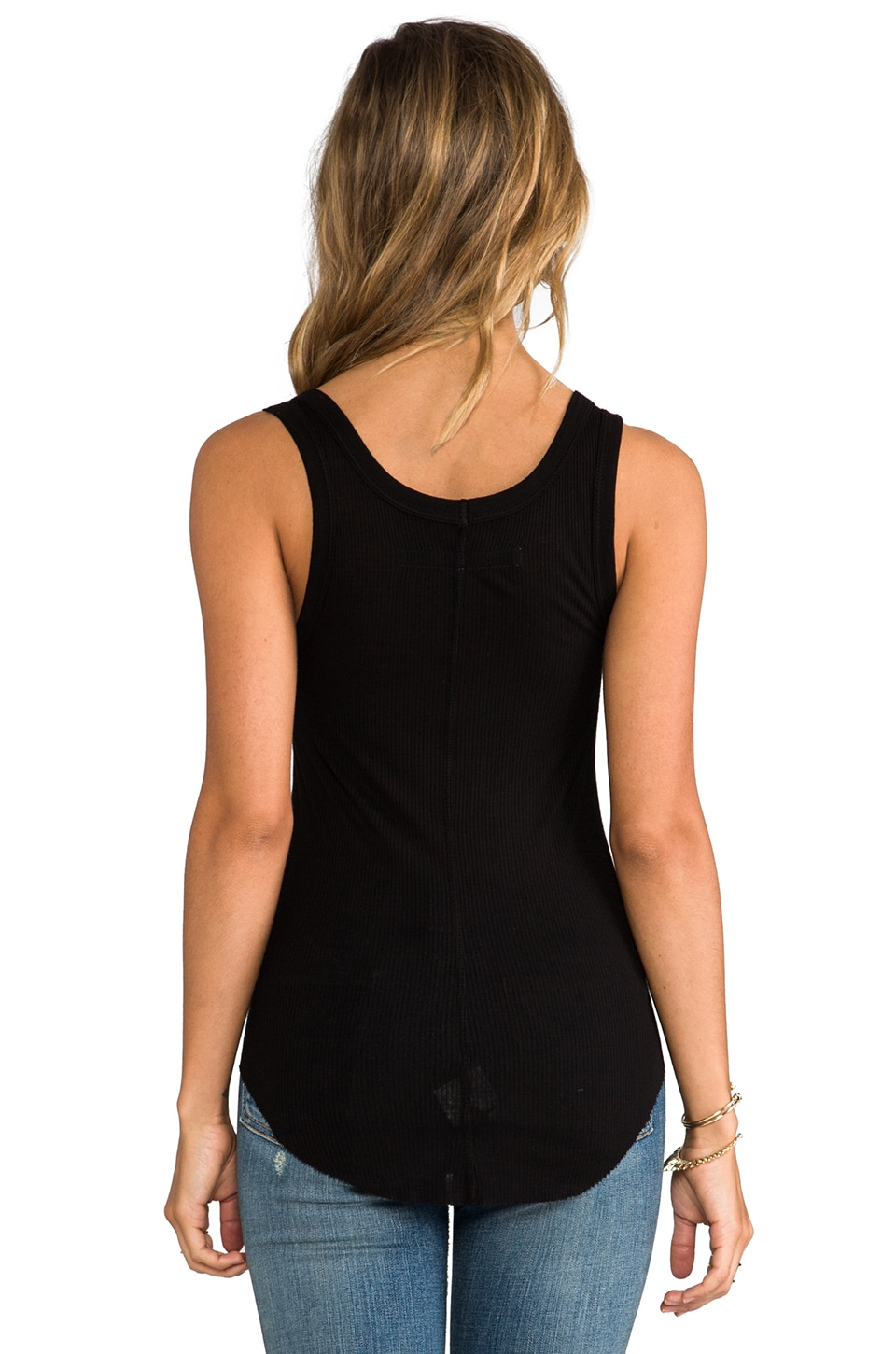 Enza Costa Silk Rib Baseball Tank in Black