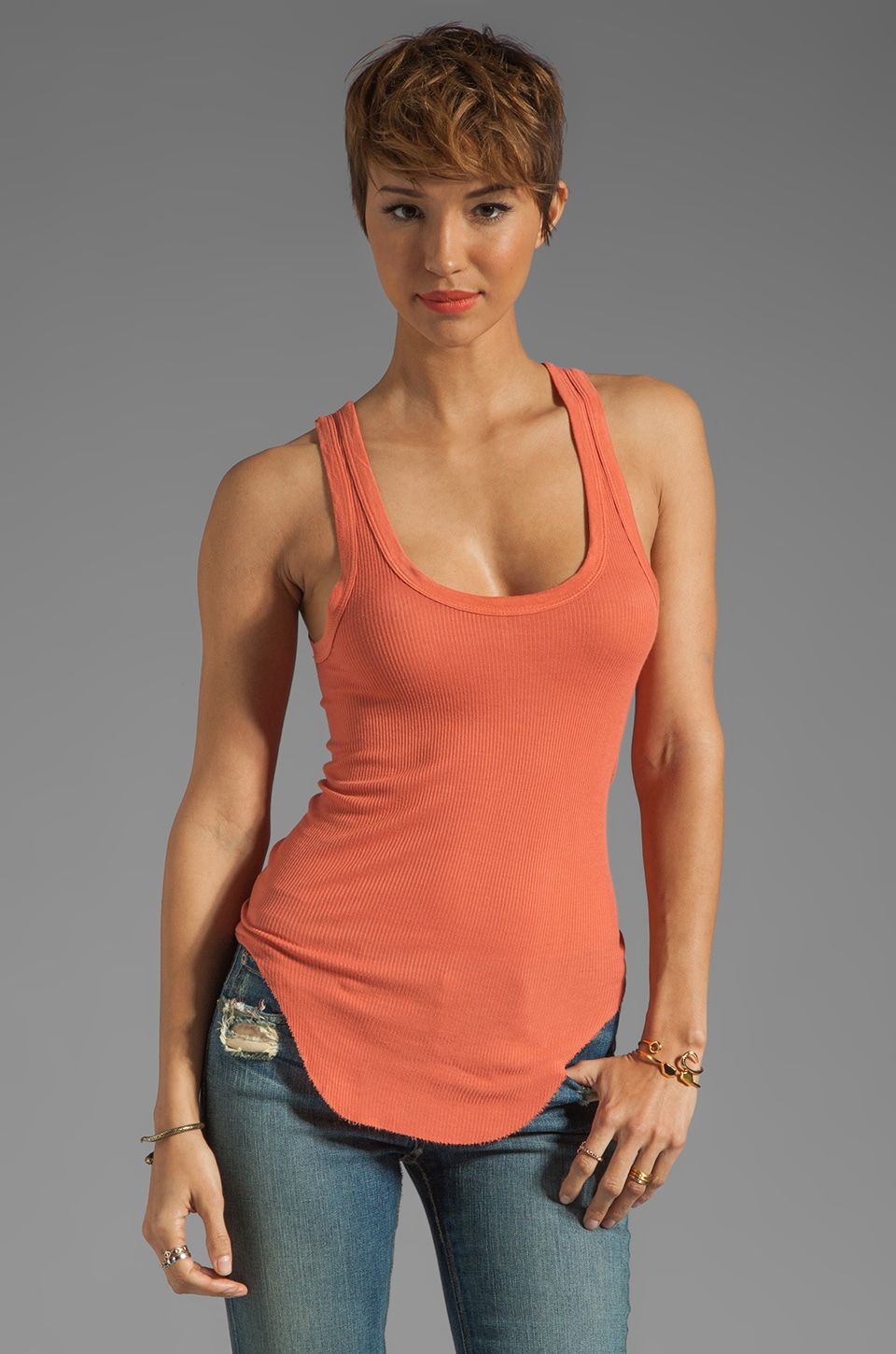 Enza Costa Silk Rib Baseball Tank in Coral