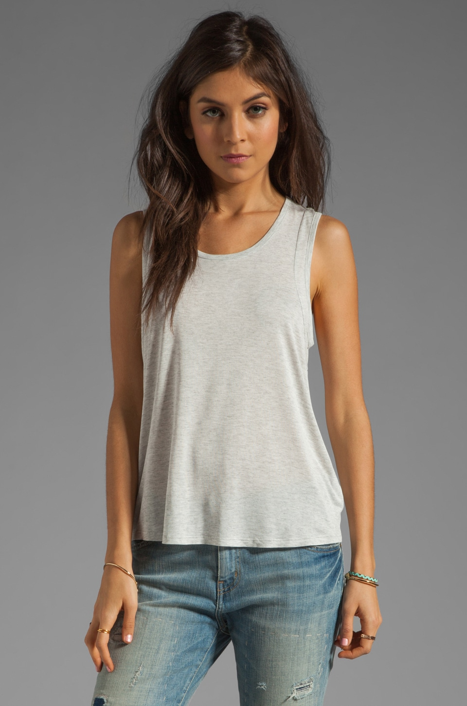 Enza Costa Rayon Jersey Panel Tank in Perla