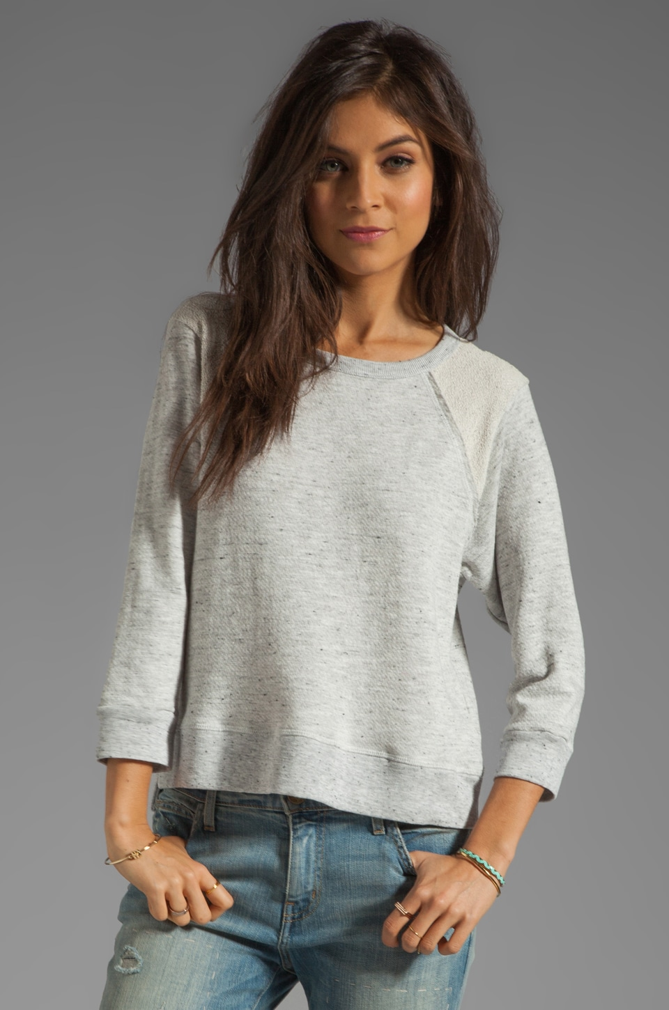 Enza Costa Tri Blend 3/4 Sleeve Raglan in Heather Grey