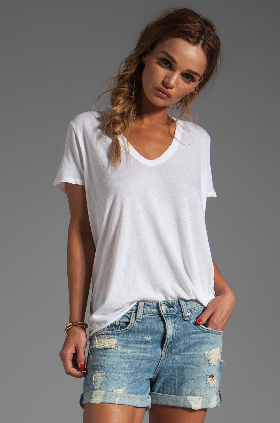 Enza Costa Tissue Jersey Loose Tee in Cloud