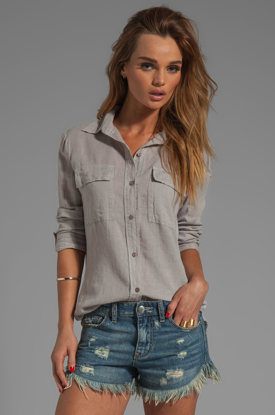 Enza Costa Izar Linen Fitted Shirt in Ashen