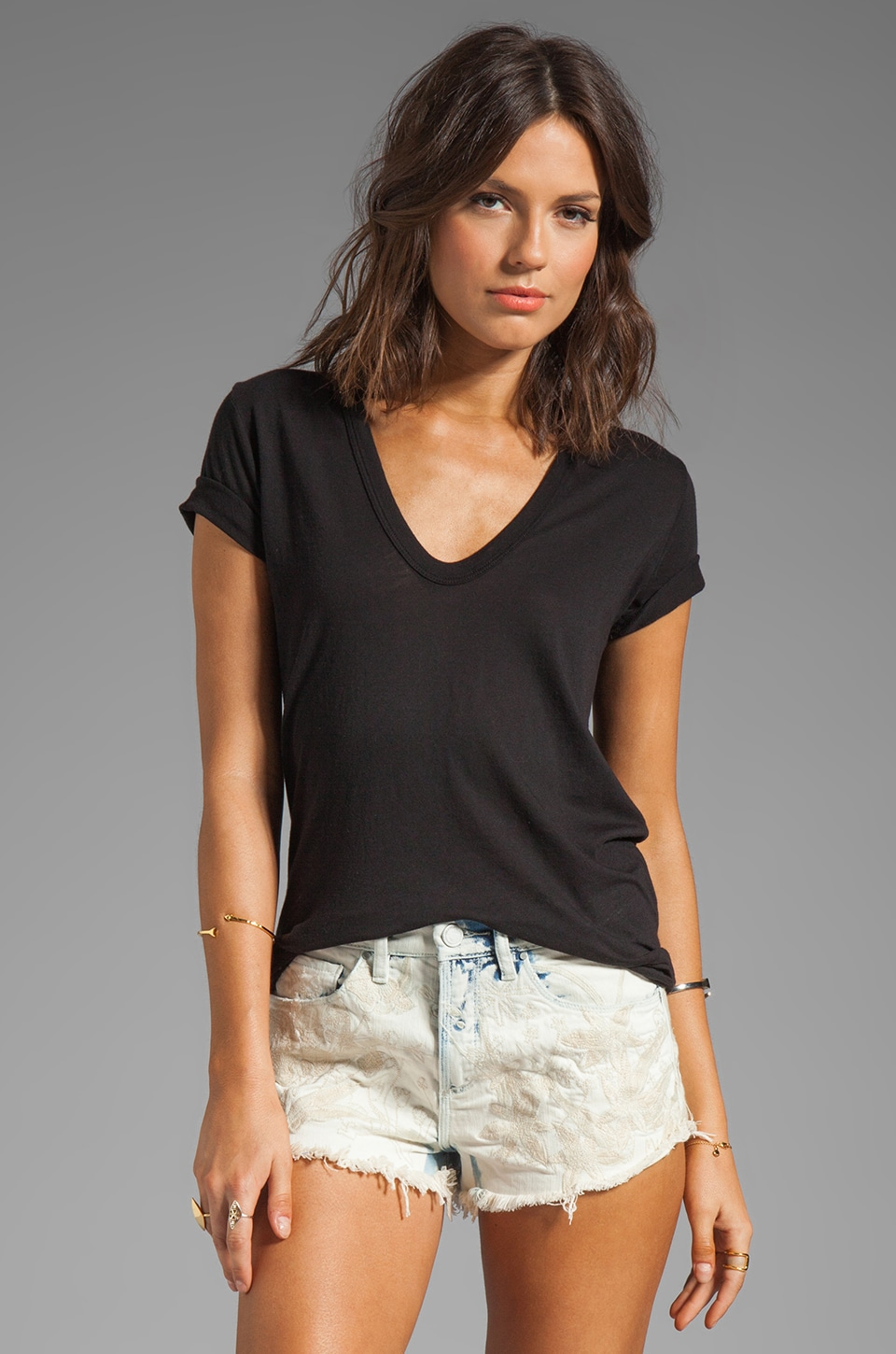 Enza Costa Tissue Jersey Loose Short Sleeve in Black