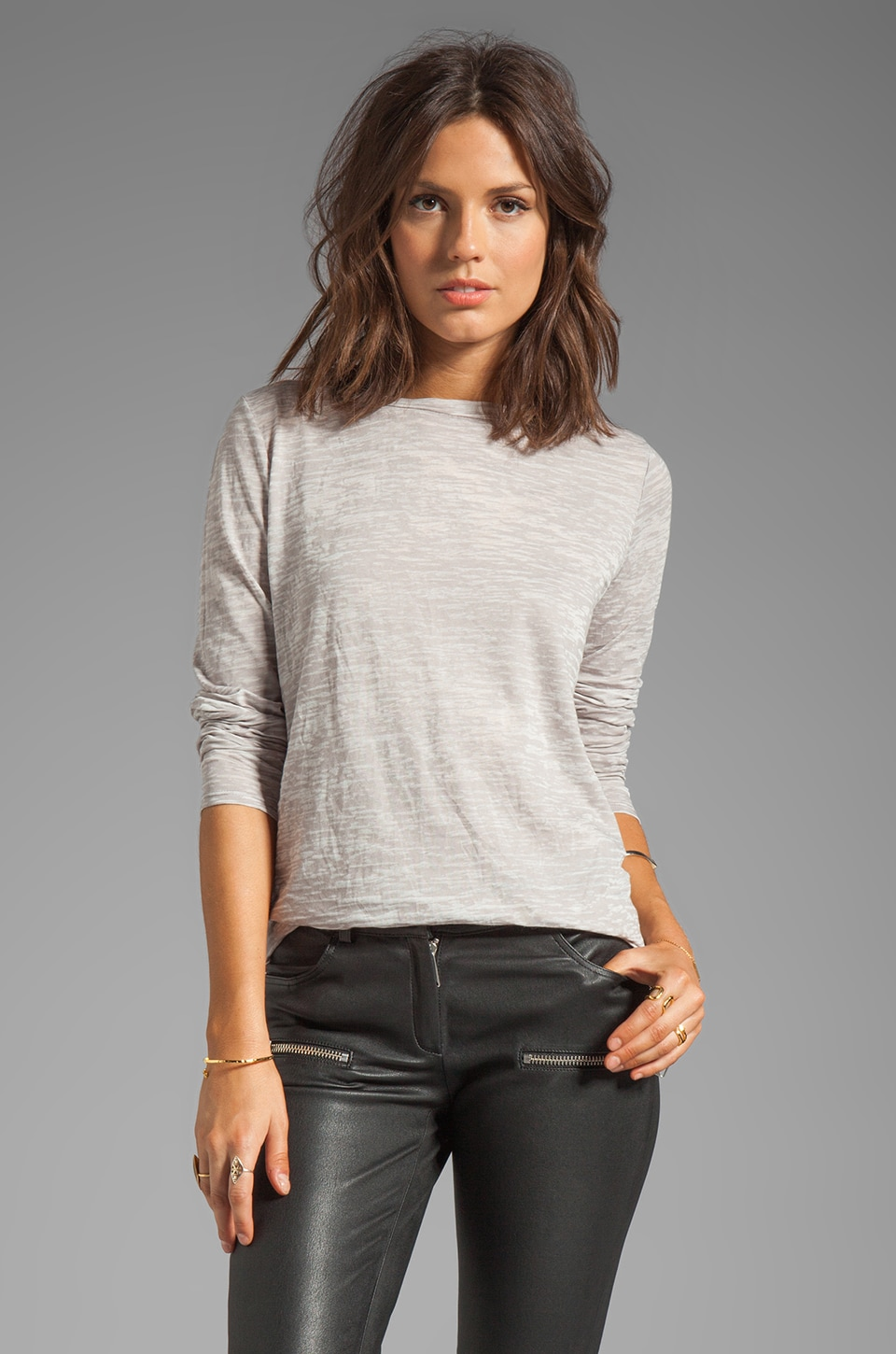 Enza Costa Loose Long Sleeve Crew in Ashen