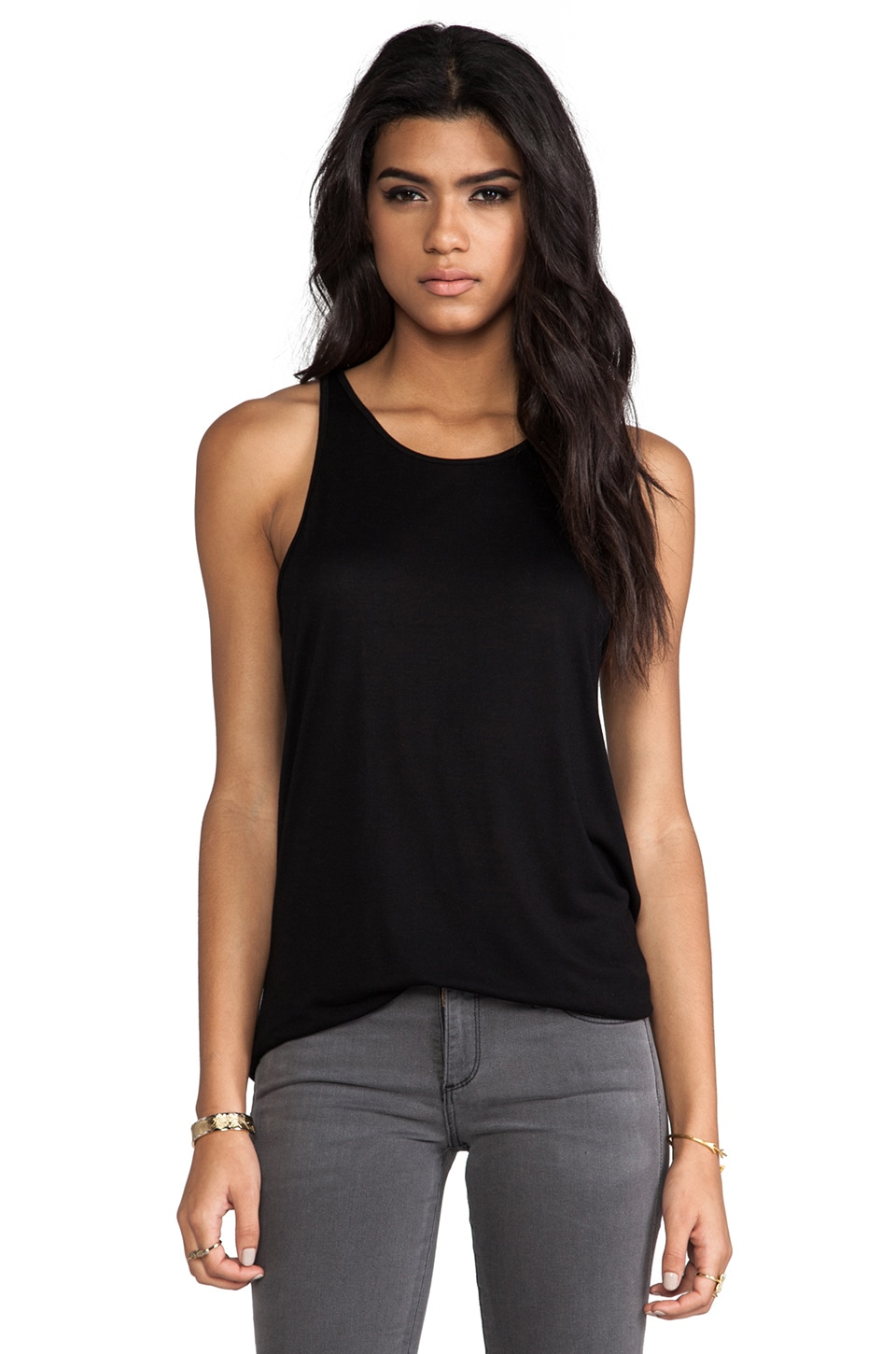Enza Costa Sheath Tank in Black