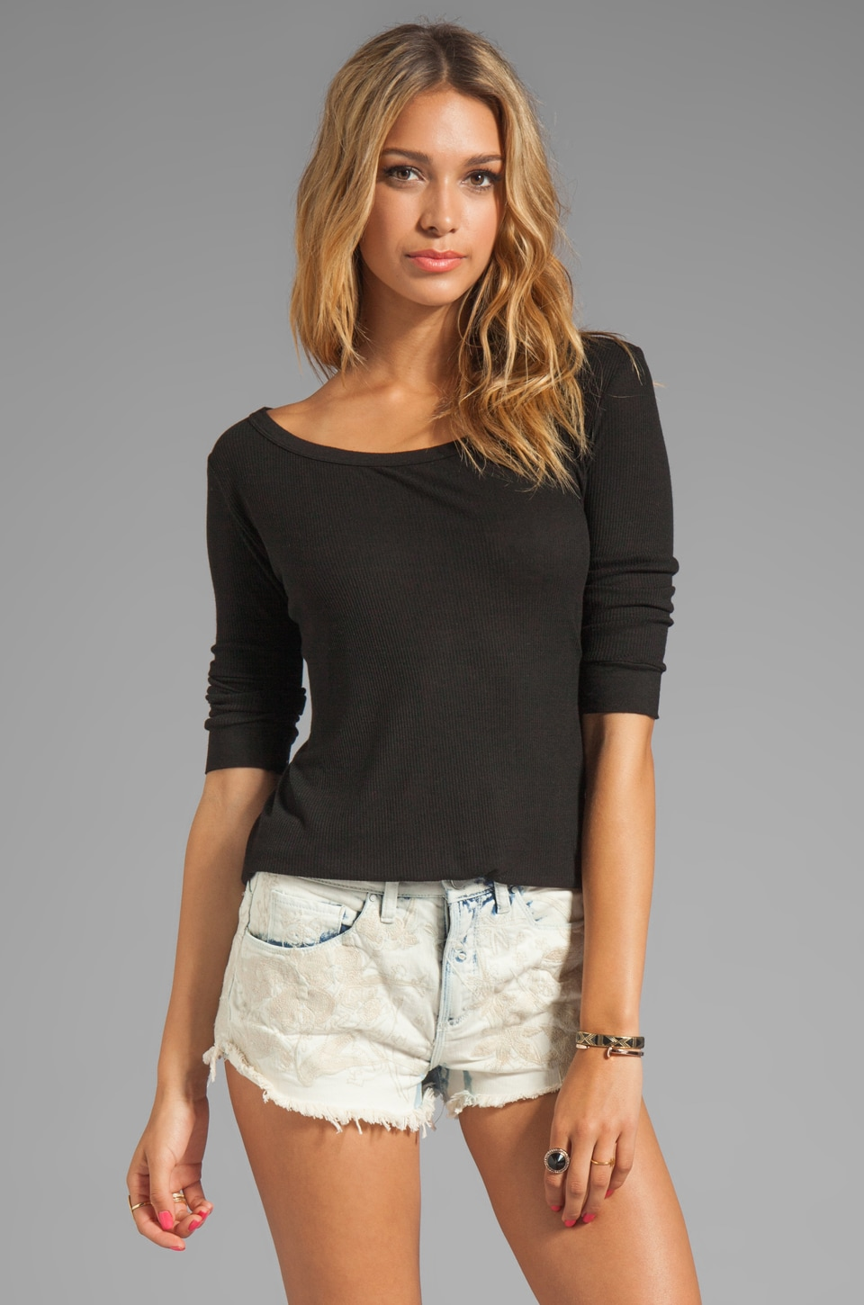 Enza Costa Silk Rib 3/4 Baseball Tee in Black