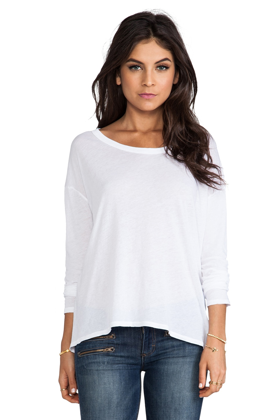 Enza Costa Tissue Jersey Drop Shoulder Long Sleeve in White