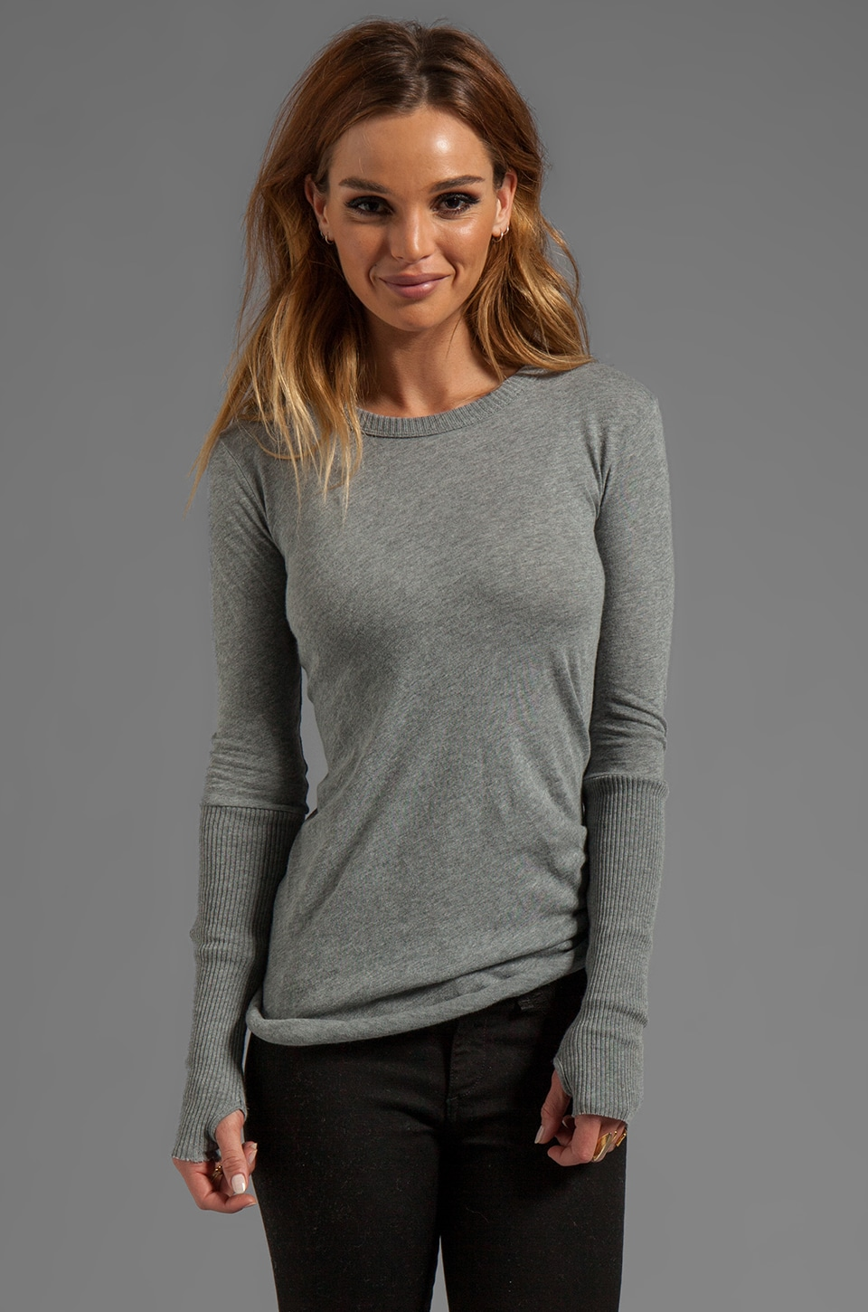 Enza Costa Cashmere Fitted Cuffed Crew Neck Sweater in Smoke
