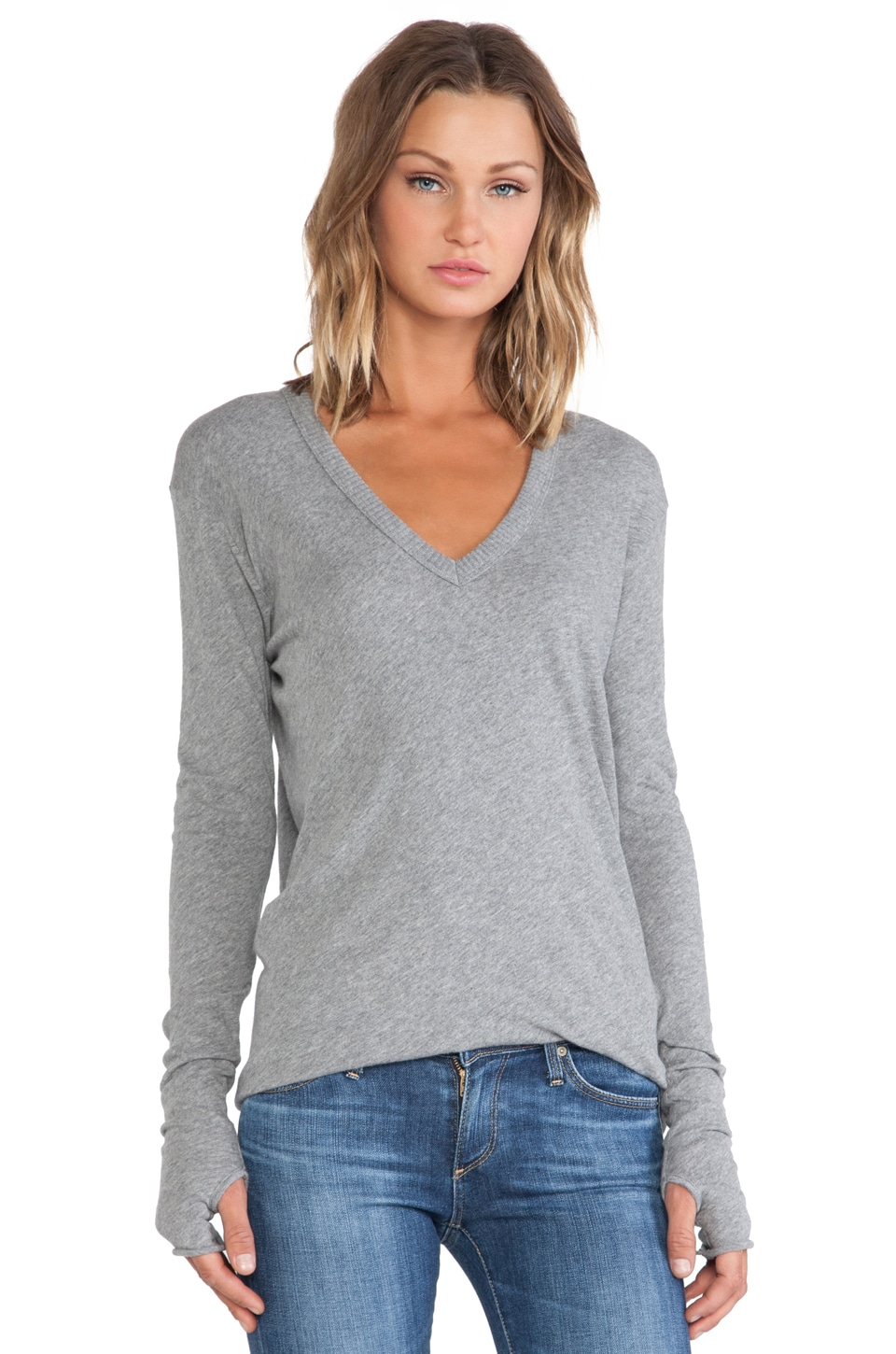 Enza Costa Cashmere Jersey Cashmere Loose V in Smoke