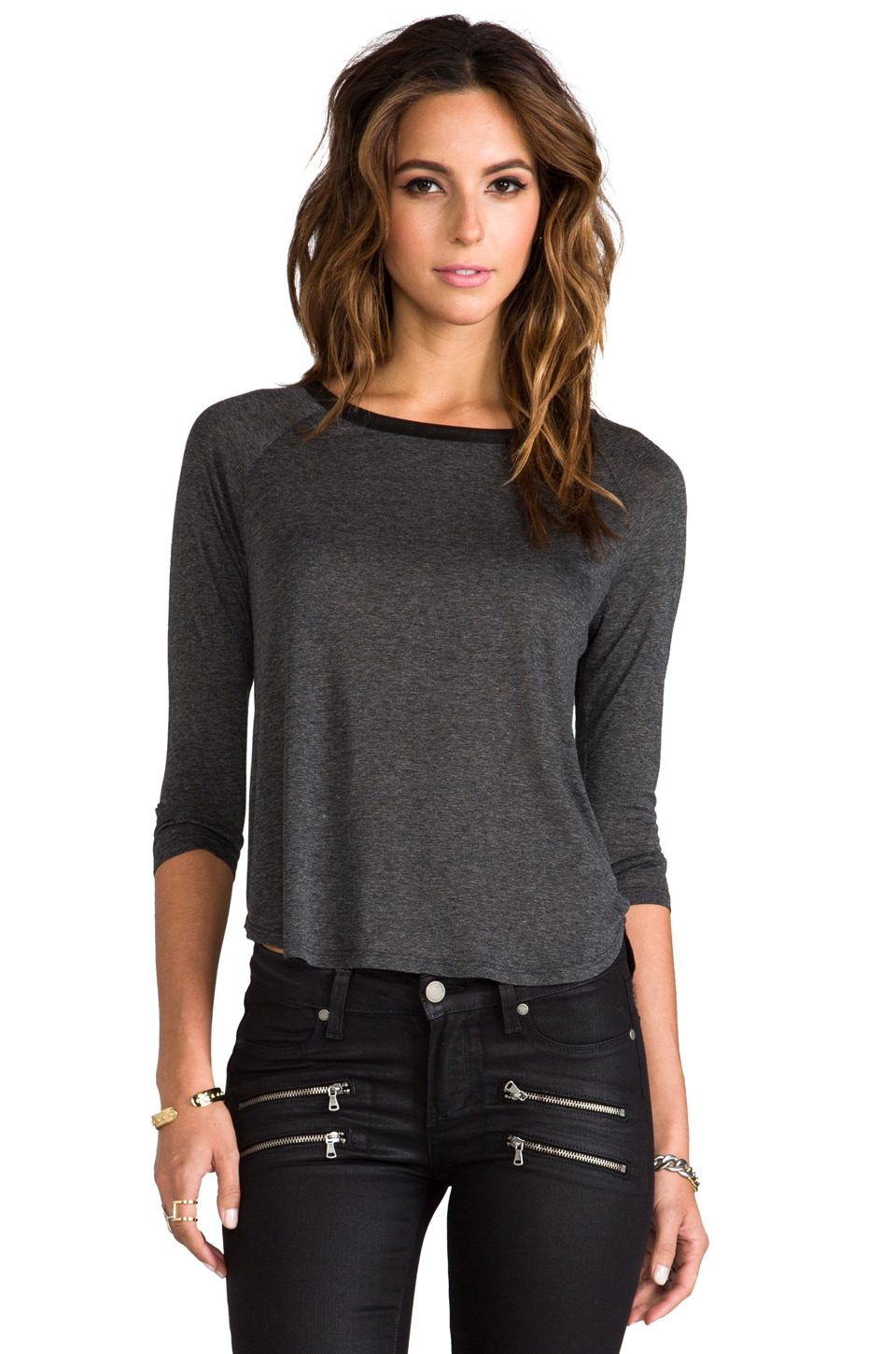 Enza Costa Rayon Jersey Zip Raglan in Anthracite