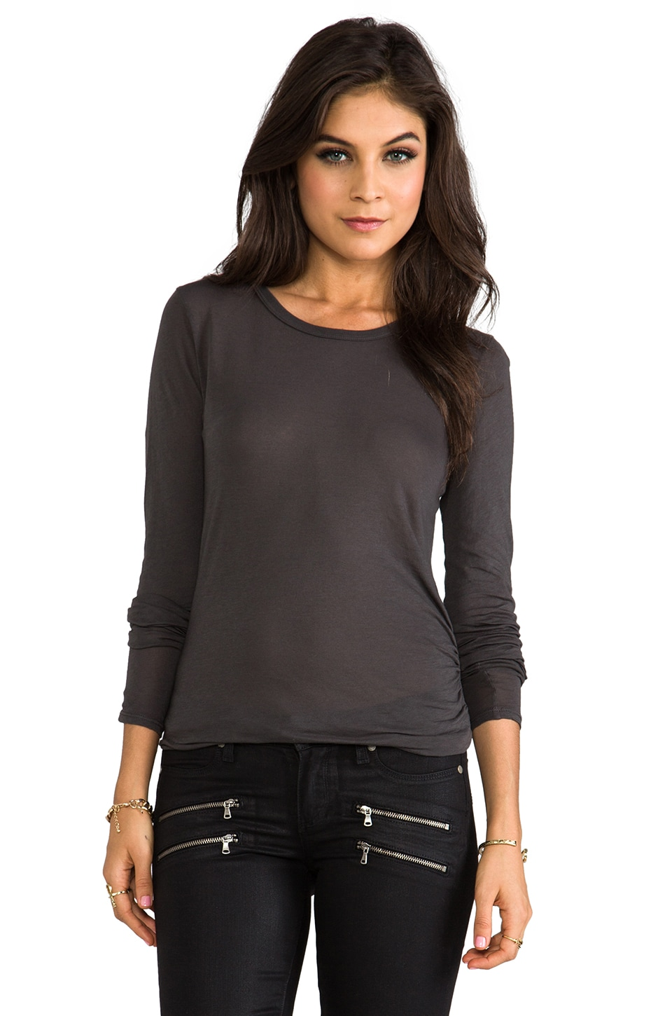 Enza Costa Tissue Jersey Front Drape Long Sleeve in Raven