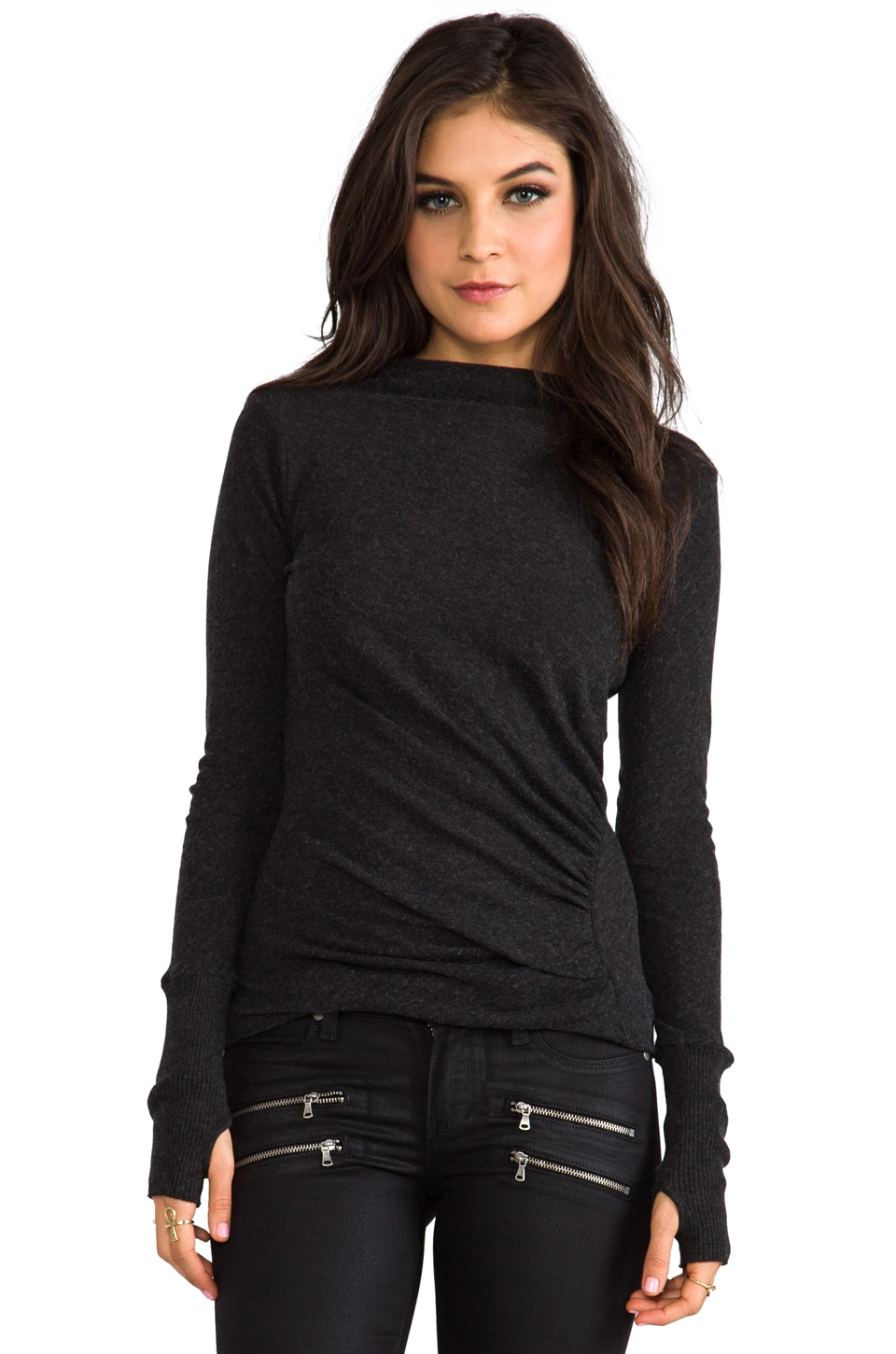 Enza Costa Cashmere Ruched Pullover Sweater in Charcoal