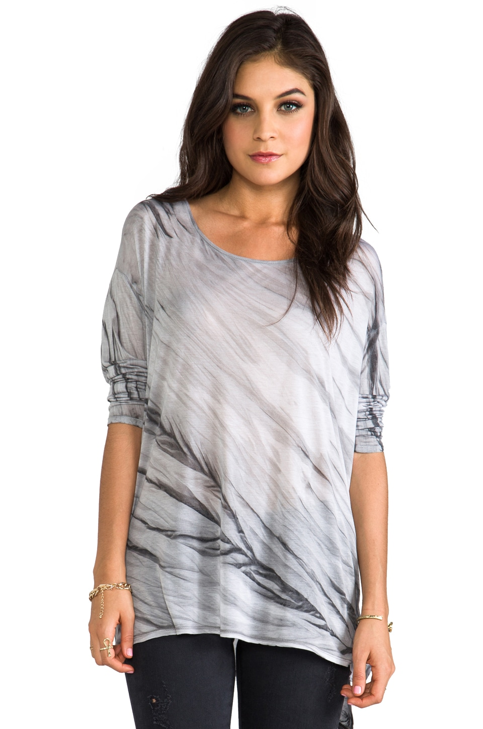 Enza Costa Viscose Oversize Long Sleeve in Grey Crackle