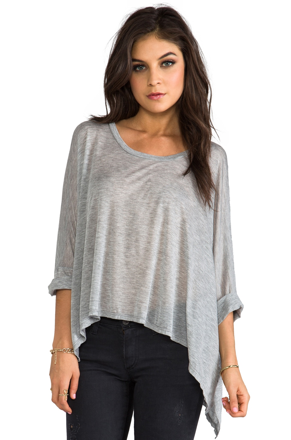 Enza Costa Viscose Oversized Crew in Light Heather Grey