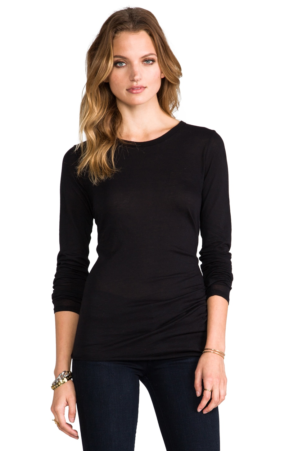 Enza Costa Tissue Jersey Front Drape Long Sleeve in Black