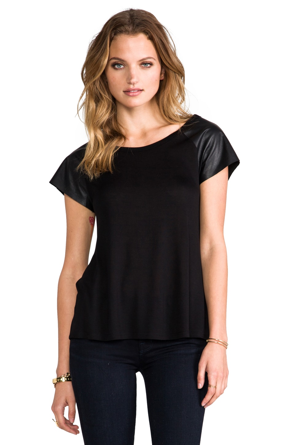 Enza Costa Rayon Jersey Leather Sleeve Raglan in Black