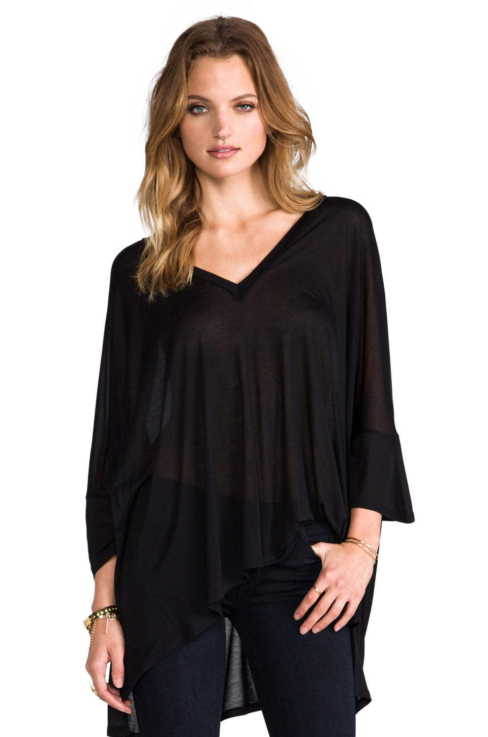 Enza Costa Viscose Oversized V Neck in Black