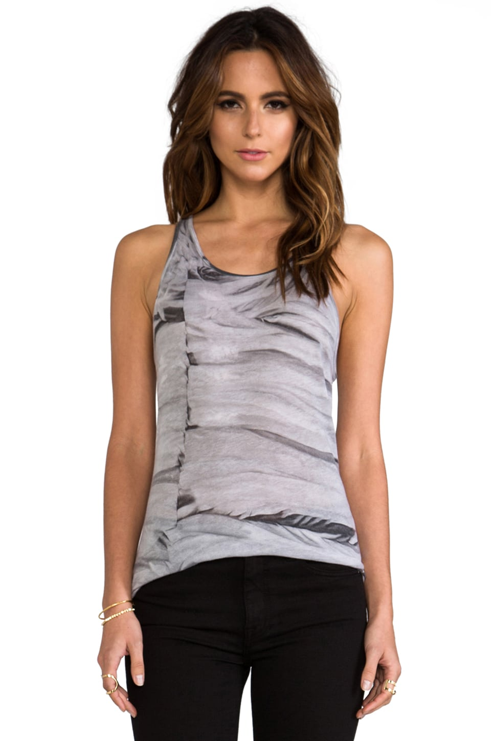 Enza Costa Tissue Jersey Racer Tank in Grey Crackle