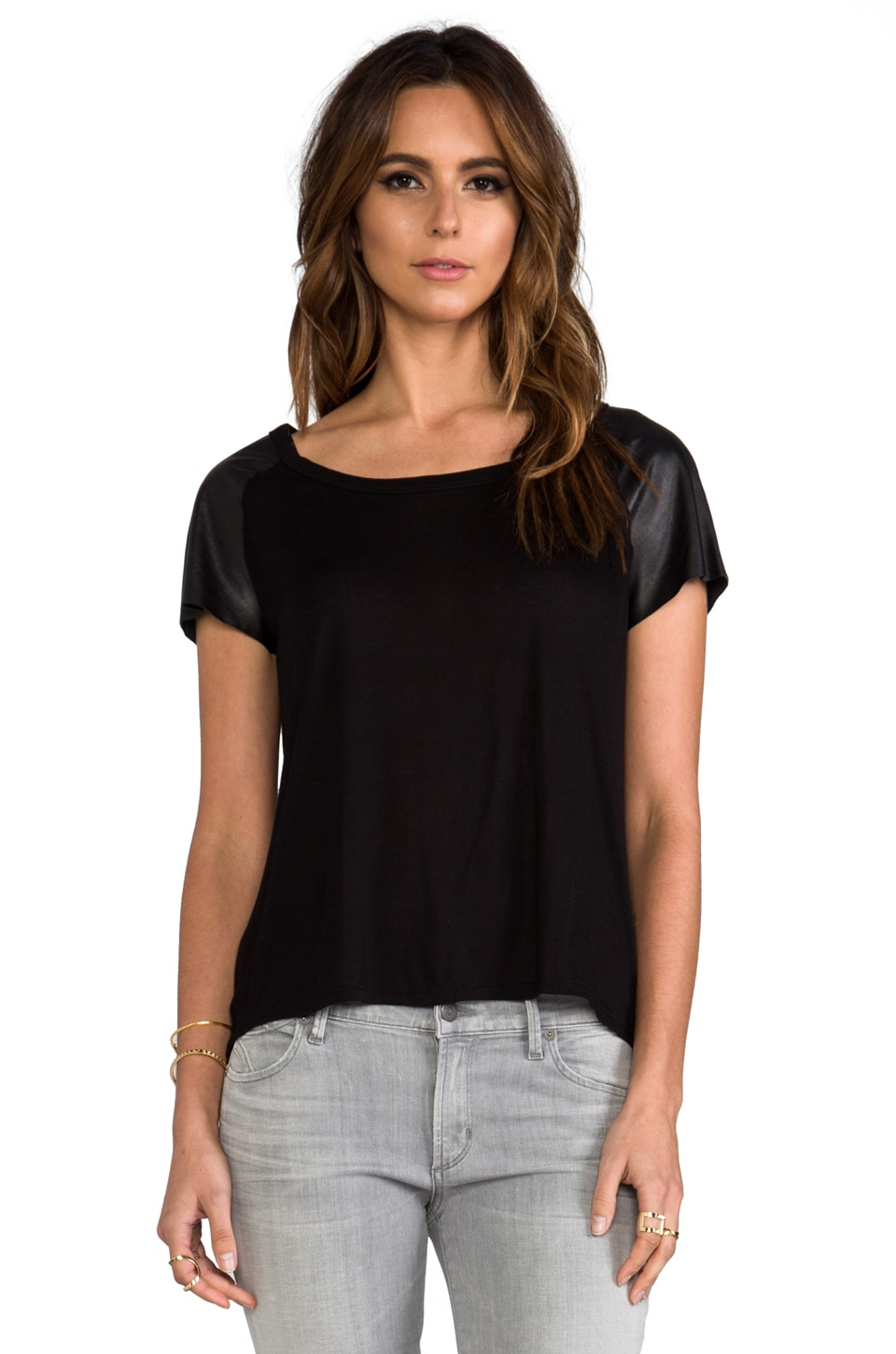 Enza Costa Leather Sleeve Raglan Tee in Black