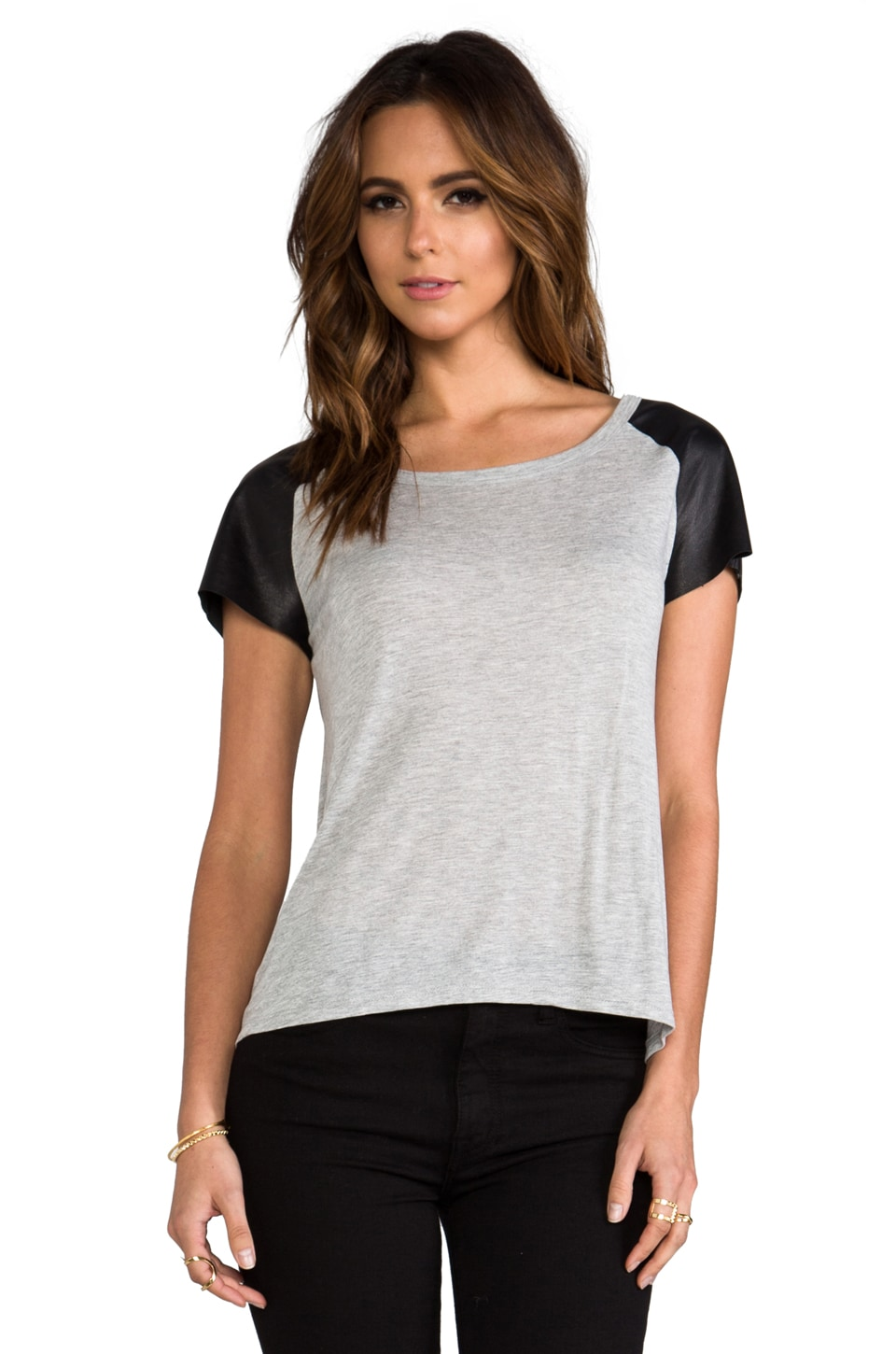Enza Costa Leather Sleeve Raglan Tee in Heather Grey & Black
