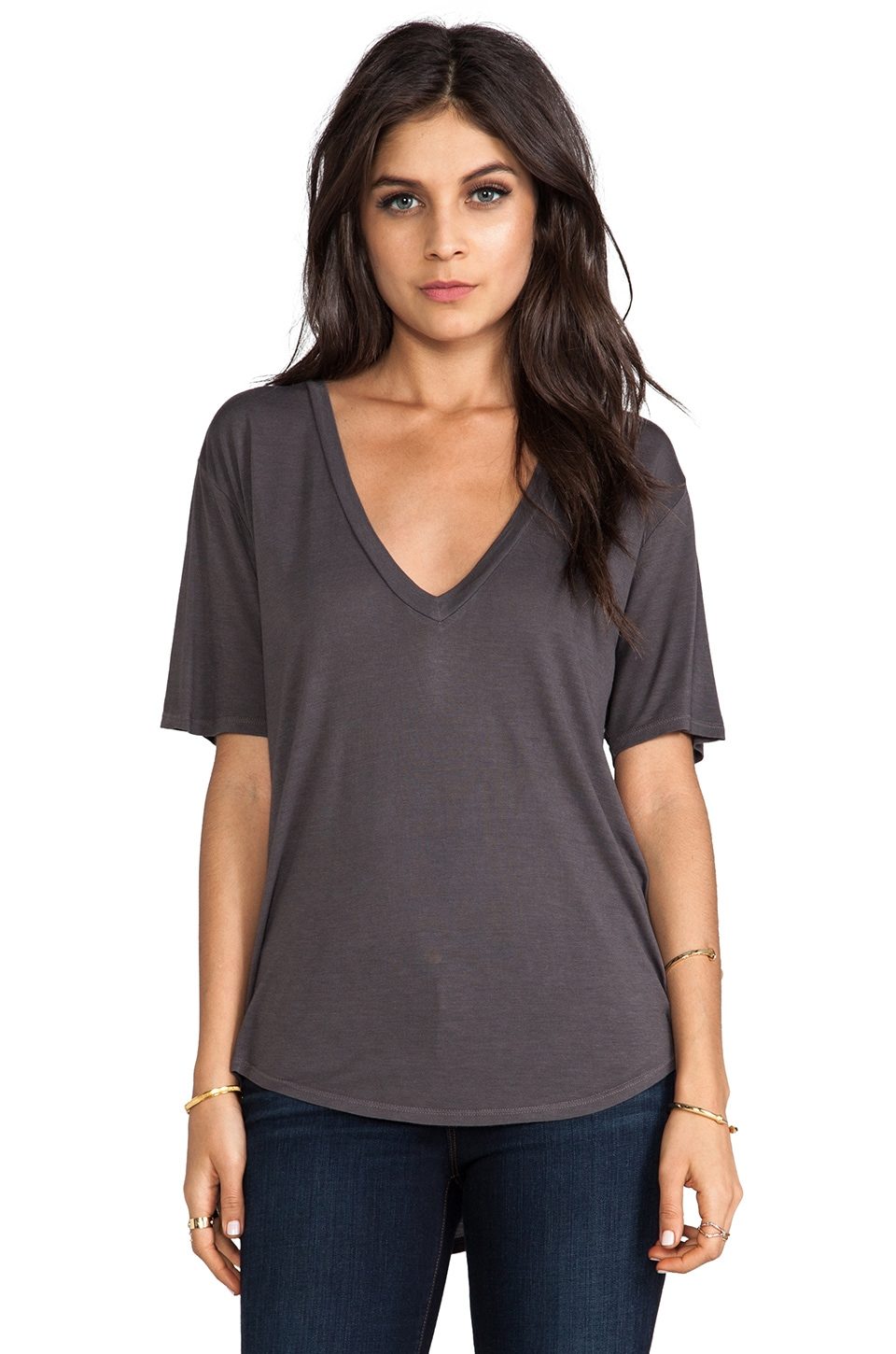 Enza Costa Silk Jersey Baseball V-Neck Tee in Carbon