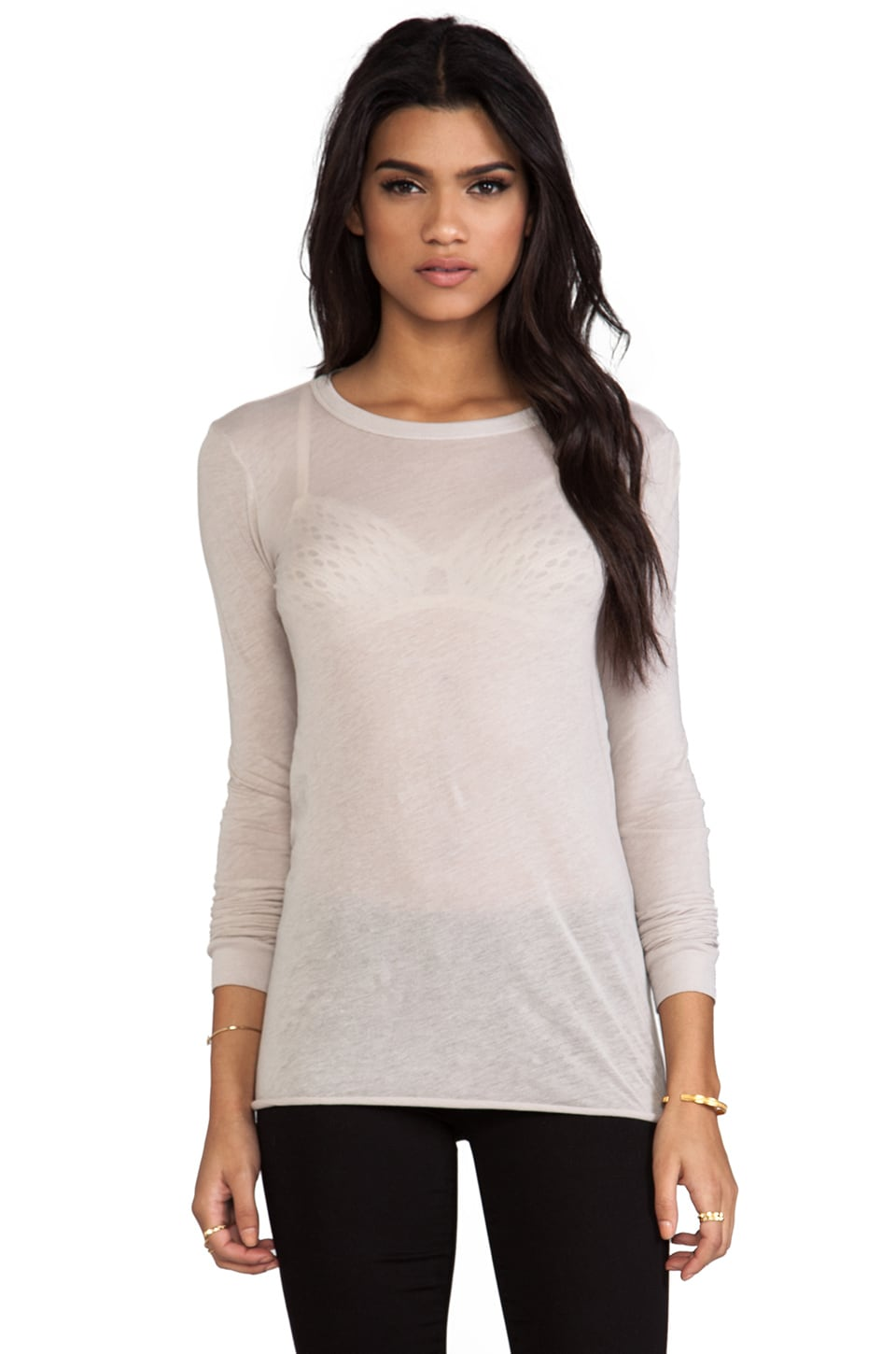 Enza Costa Bold Long Sleeve Crew in Quartz
