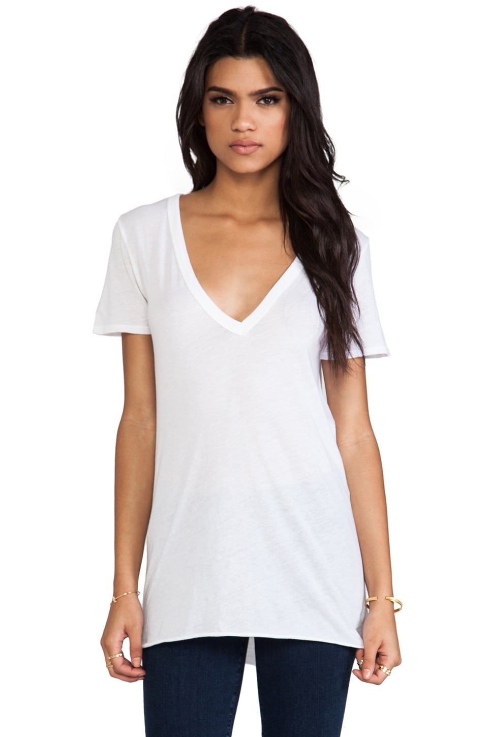 Enza Costa Loose Short Sleeve V Tee in White