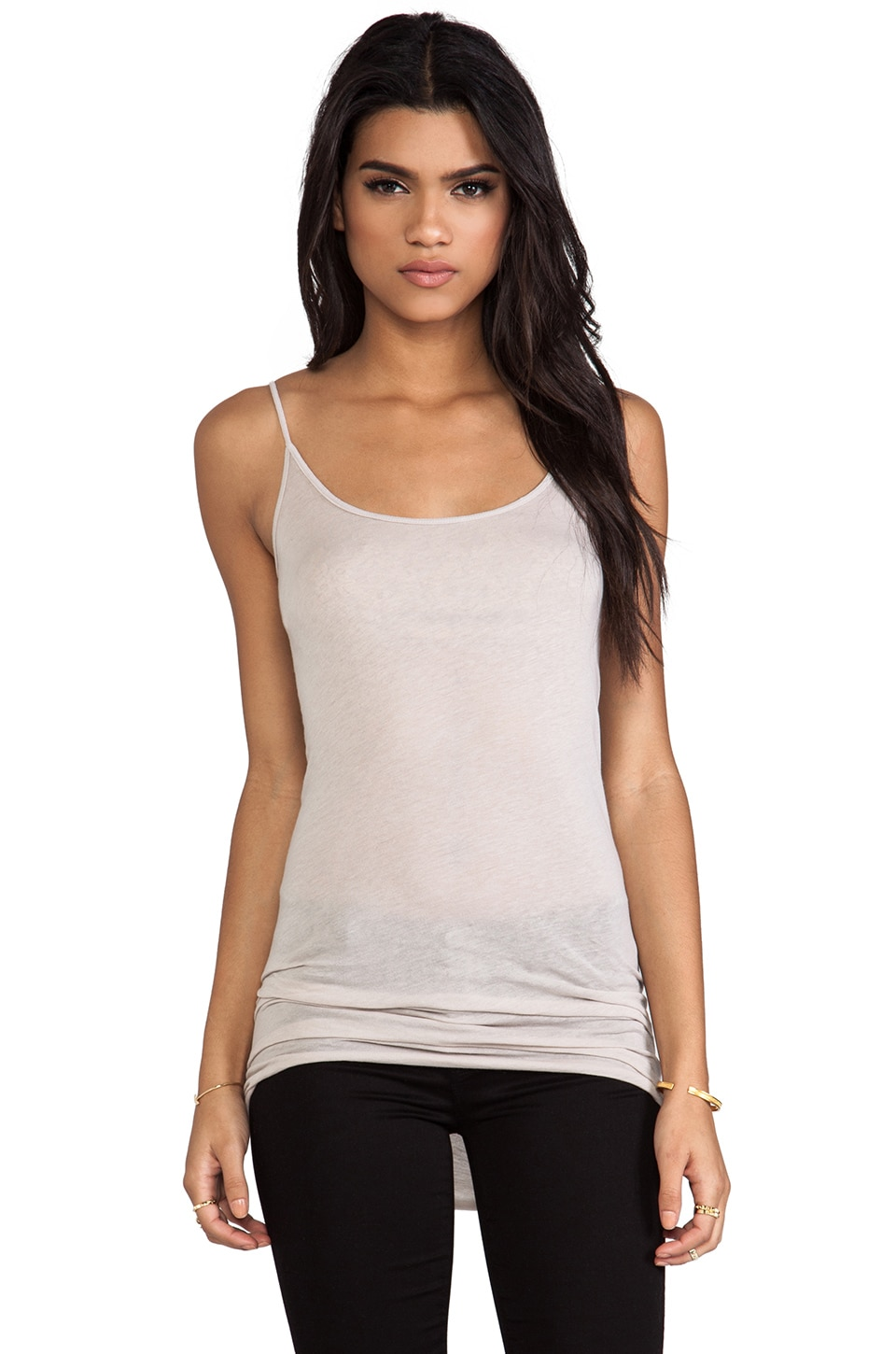 Enza Costa Tissue Jersey Tunic Layer Tank in Quartz