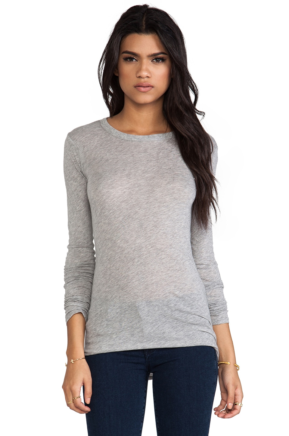 Enza Costa Bold Long Sleeve Crew Tee in Light Heather Grey