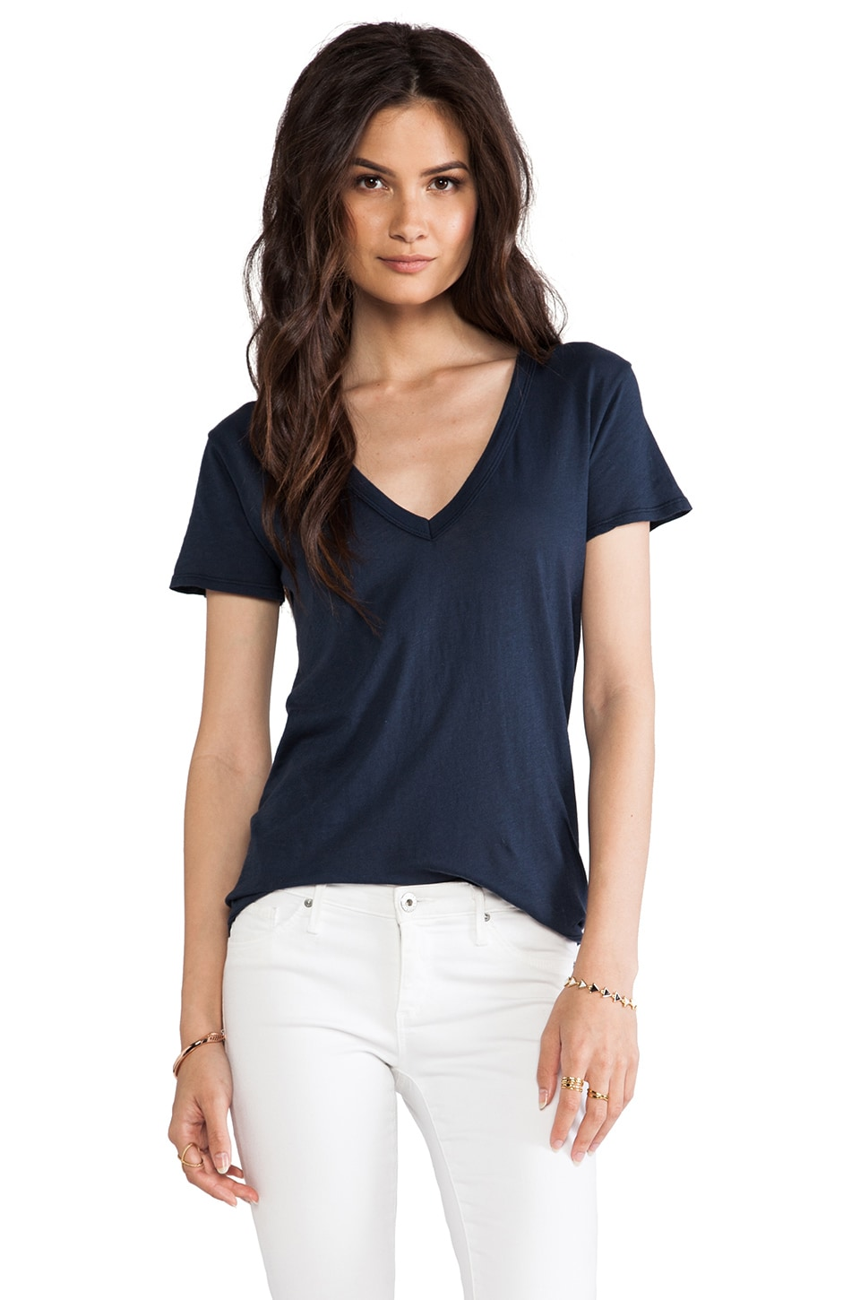 Enza Costa Hi-Lo Short Sleeve V Tee in Indigo