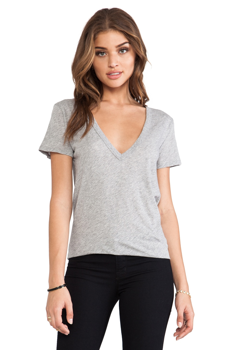 Enza Costa Loose Short Sleeve V Tee in Light Heather Grey